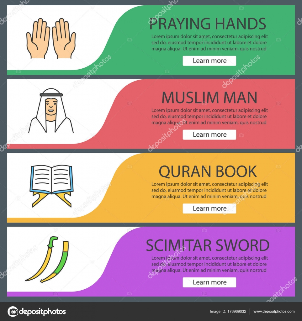 islamic culture web banner templates set praying hands muslim man