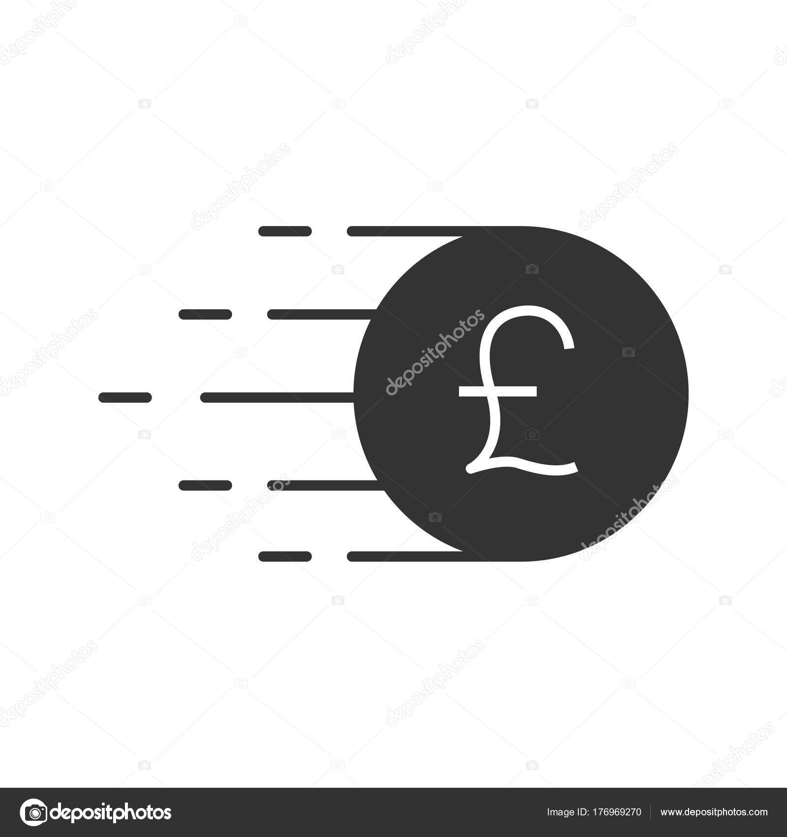Flying British Pound Coin Glyph Icon Silhouette Symbol Great Britain