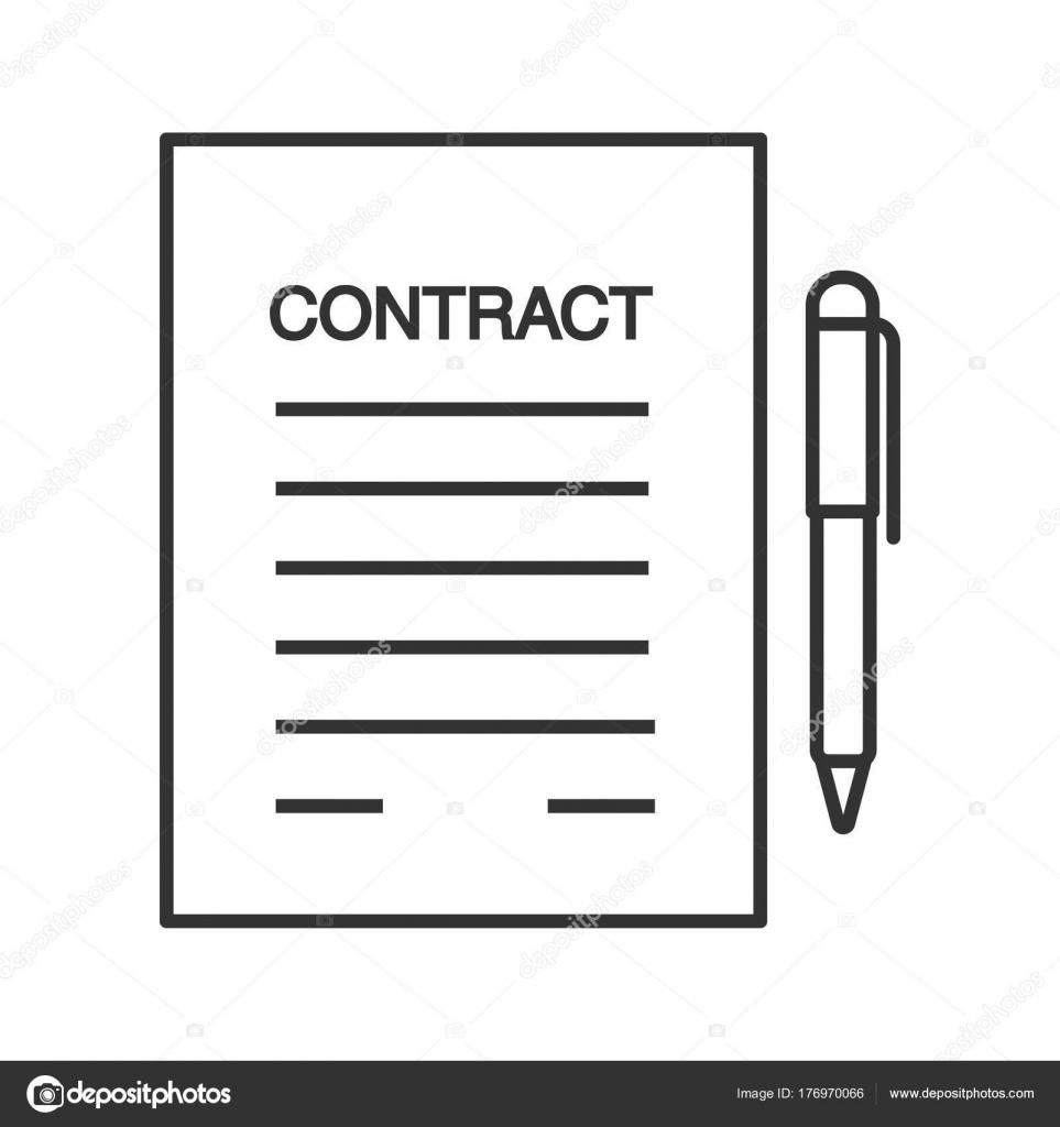 Geschäftsvereinbarung Vertrag Lineare Symbol Arbeitsvertrag Dünne ...