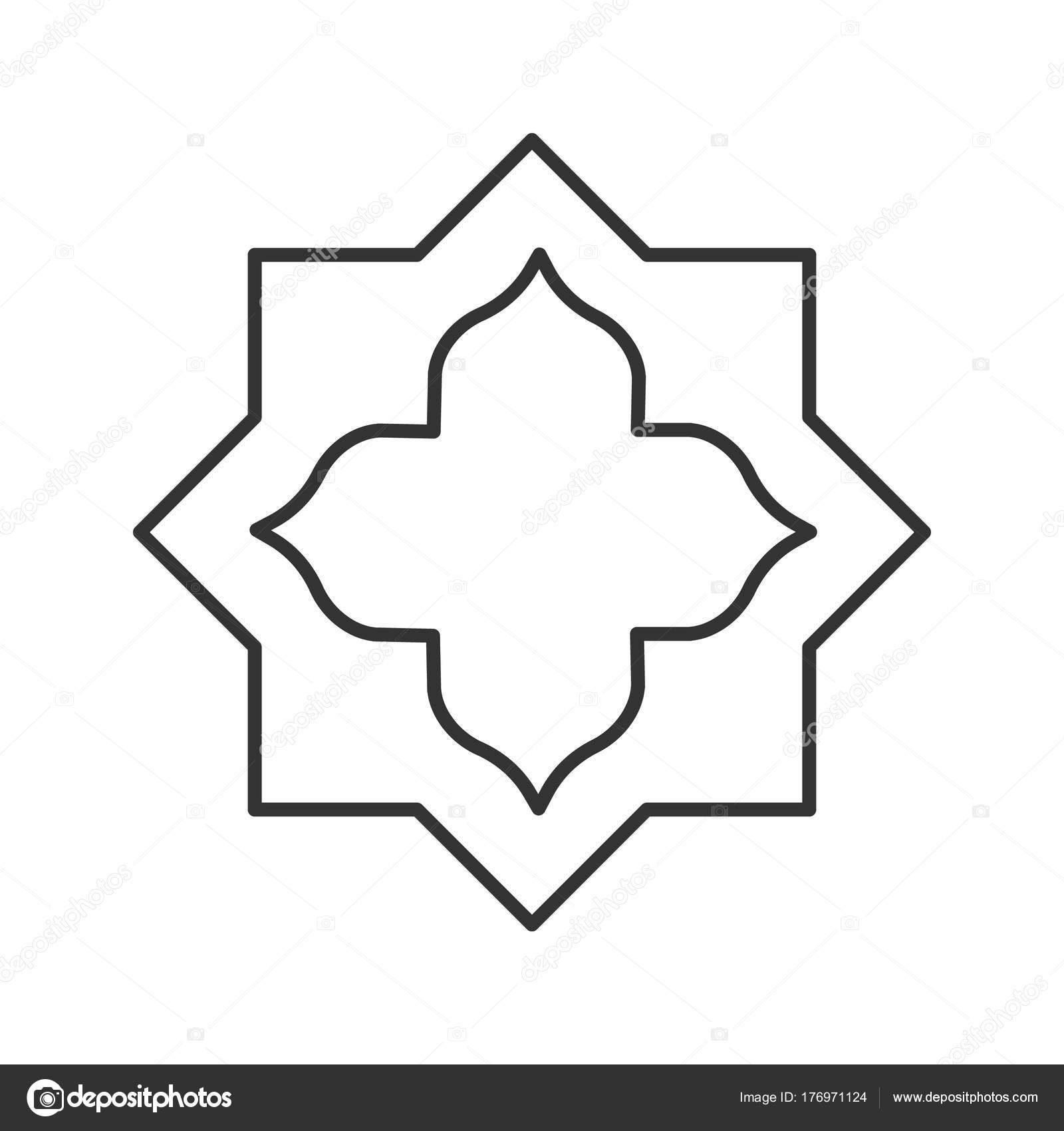 Islamic Star Linear Icon Thin Line Illustration Muslim Art
