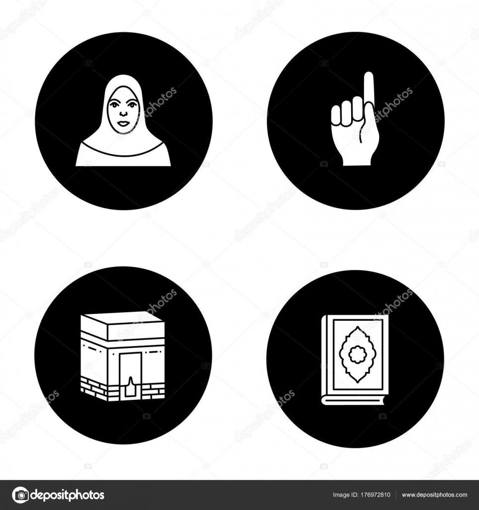 Islamic culture glyph icons set muslim woman god gesture kaaba islamic culture glyph icons set muslim woman god gesture kaaba stock vector biocorpaavc Images