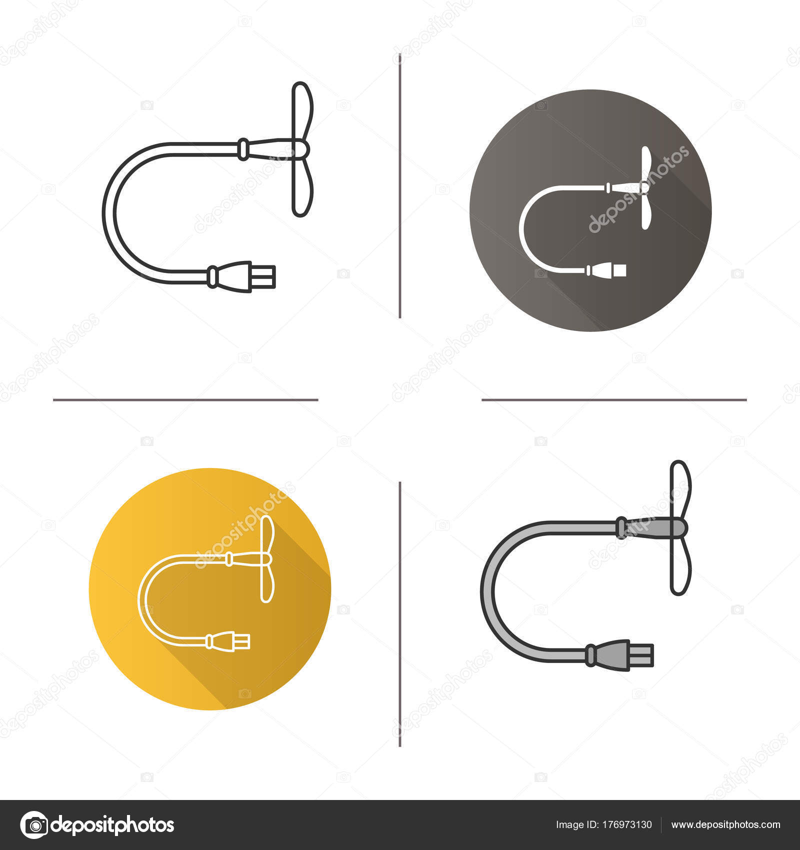 Usb Ventilator Symbol Flache Bauweise Lineare Und Farbe Stile Mini ...
