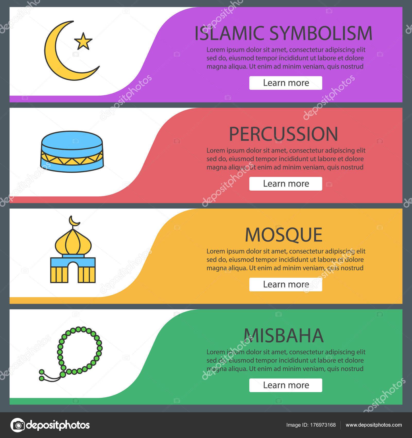 Islamic Culture Web Banner Templates Set Crescent Moon Star Mosque