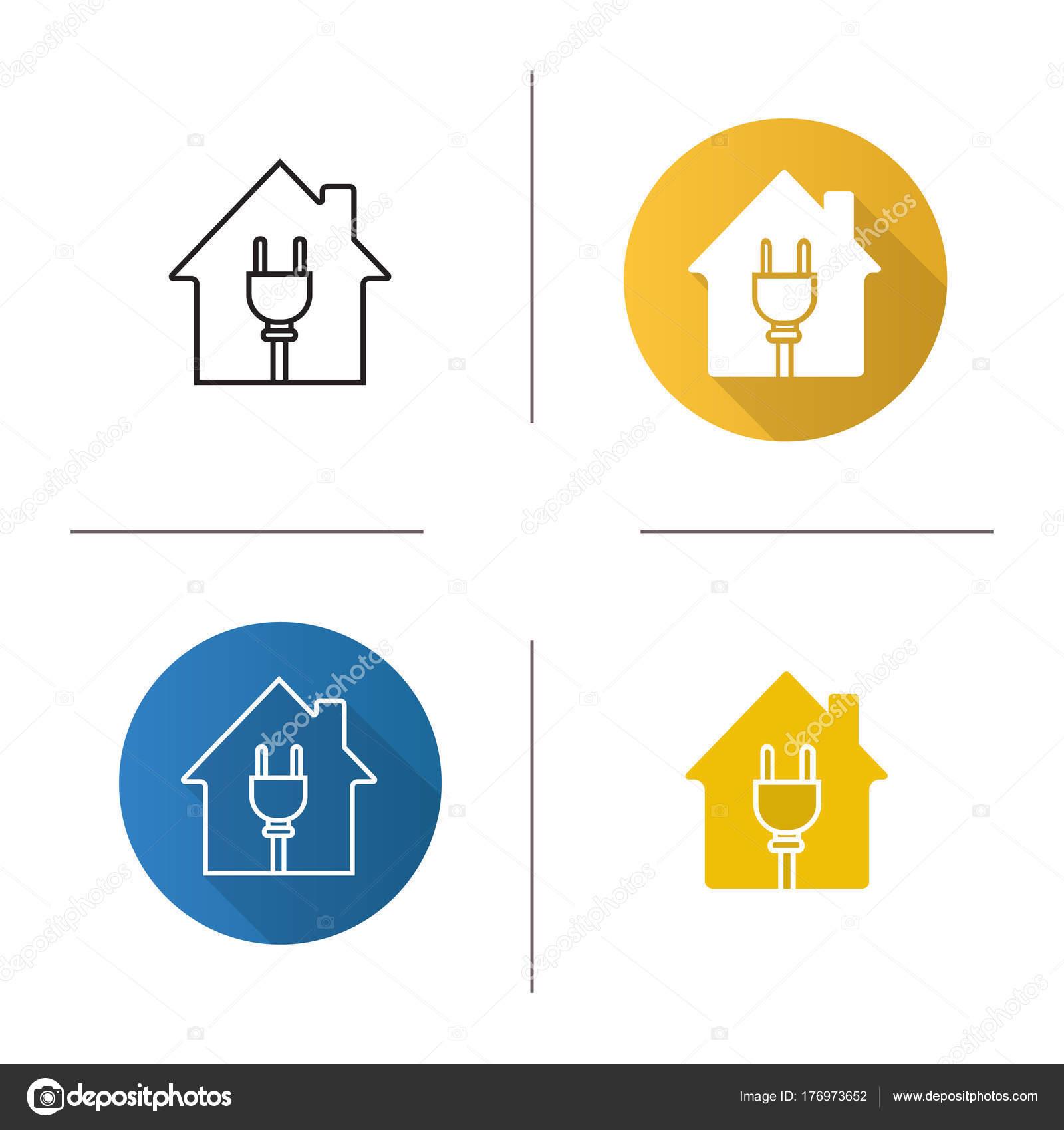 Haus Mit Draht Stecker Symbol Flaches Design Lineare Und Glyphe ...