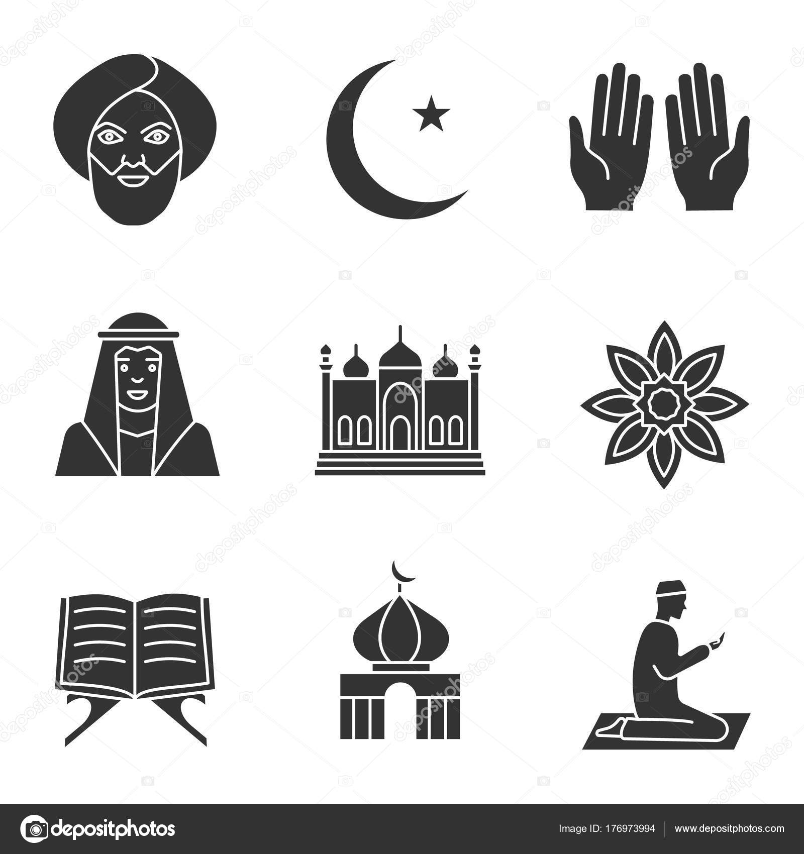 islamic culture glyph icons set muslim man ramadan moon islamic stock vector c bsd 176973994 https depositphotos com 176973994 stock illustration islamic culture glyph icons set html
