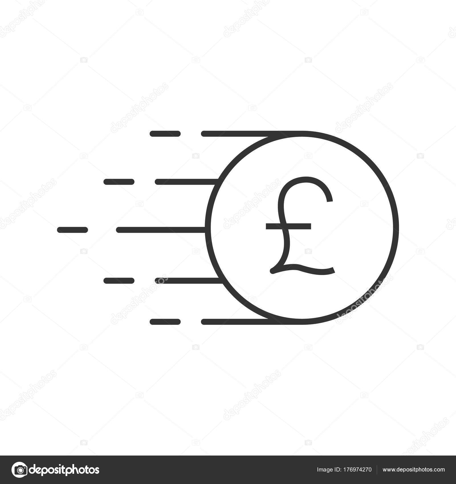 Flying British Pound Coin Linear Icon Thin Line Illustration Great