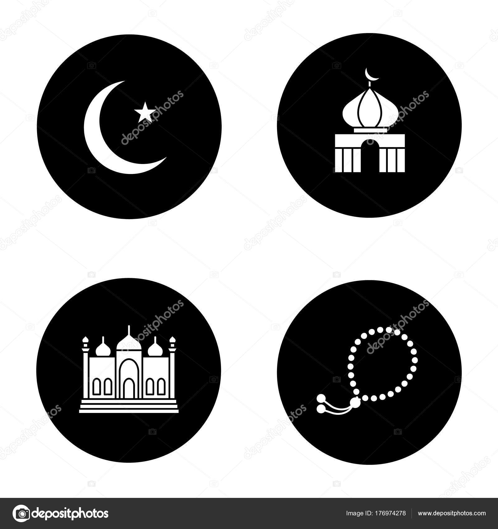 Islamic culture glyph icons set crescent moon star mosques misbaha islamic culture glyph icons set crescent moon star mosques misbaha stock vector biocorpaavc Images
