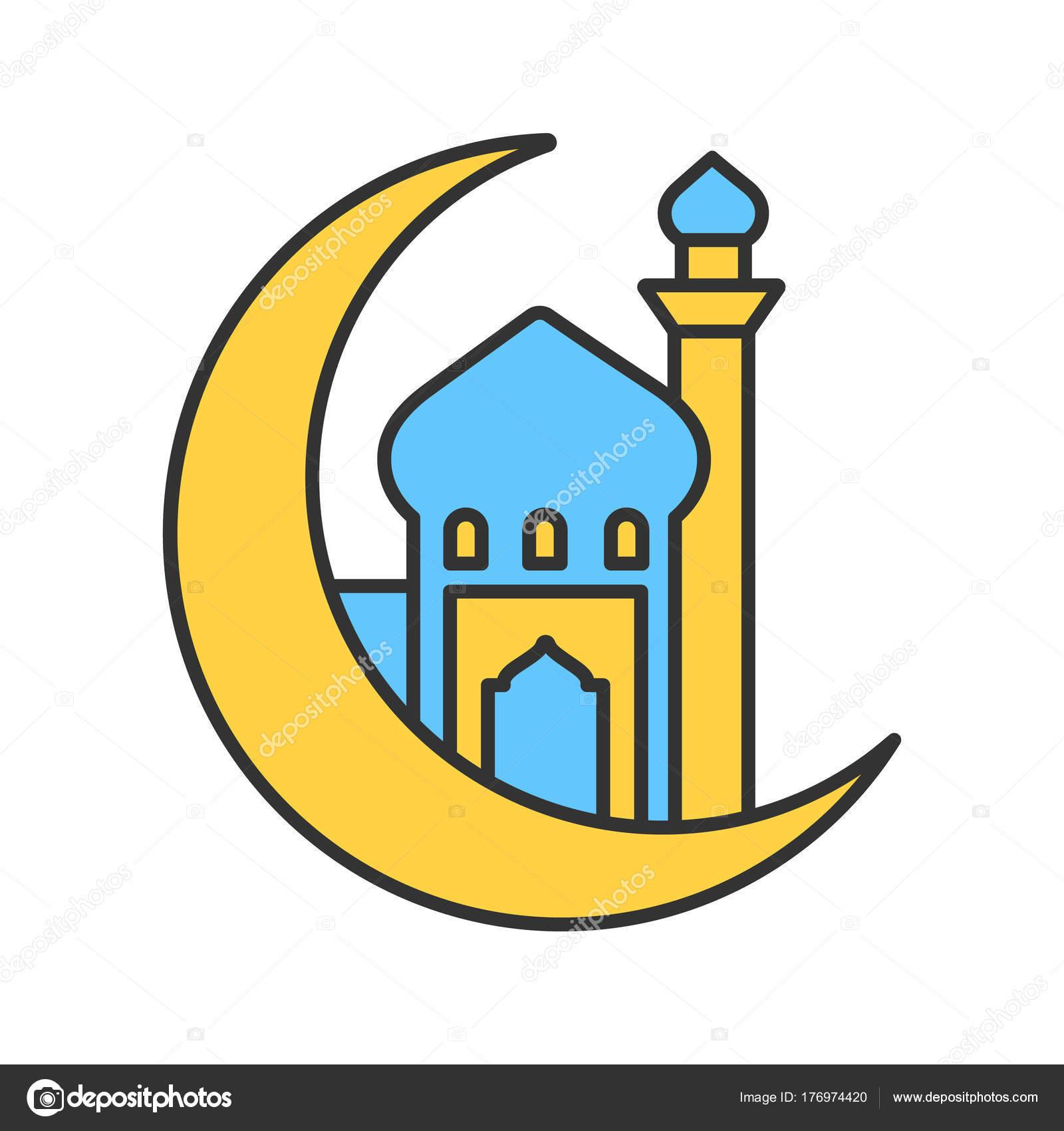 Mosque Ramadan Moon Color Icon Crescent Moon Islamic Culture Muslim