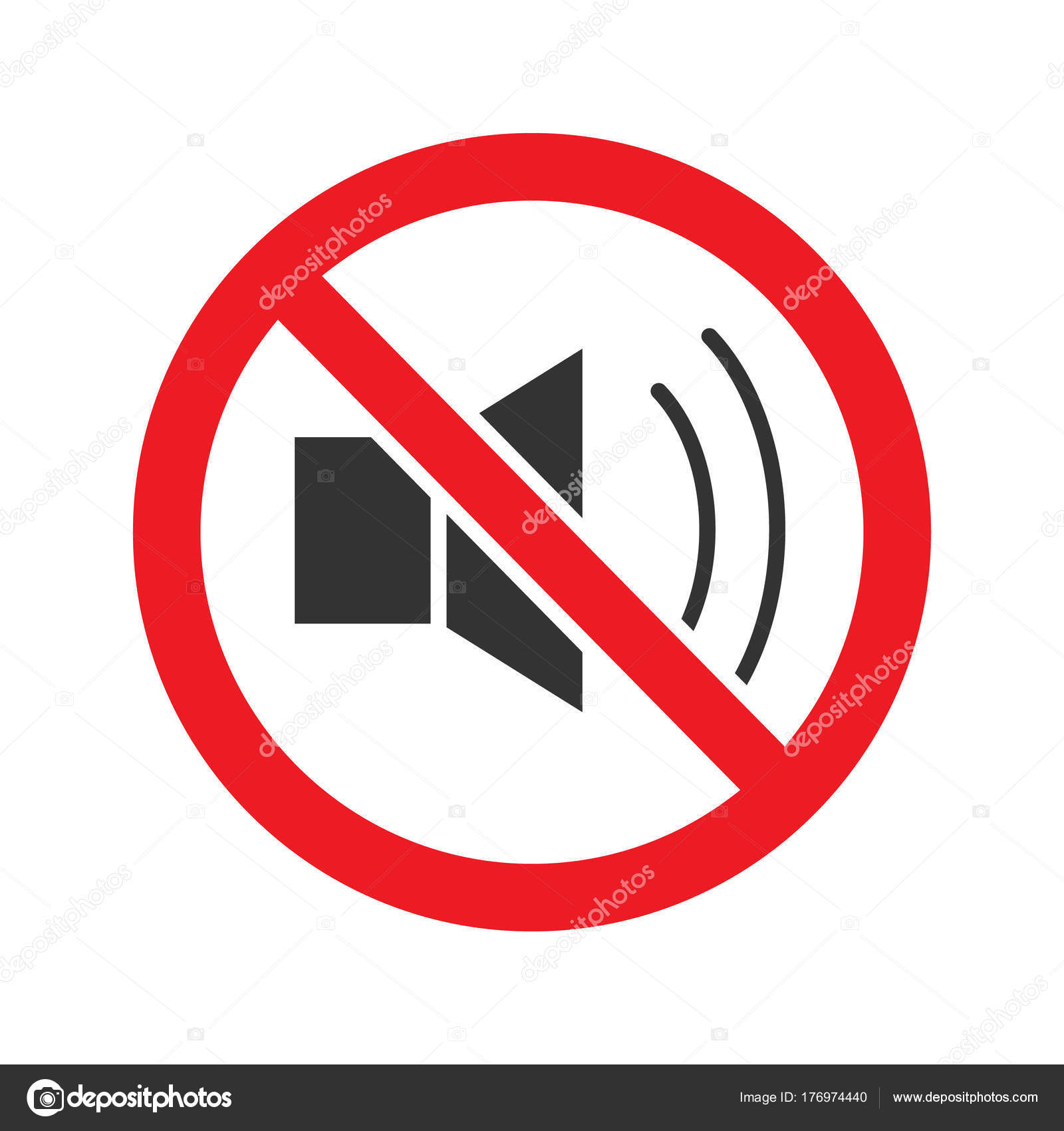 Forbidden Sign Loudspeaker Glyph Icon Stop Silhouette Symbol Loud