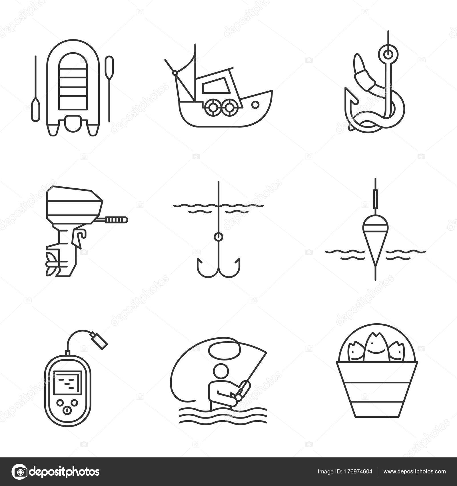 Fishing Linear Icons Set Outboard Boat Motor Fisherman Echo Sounder ...