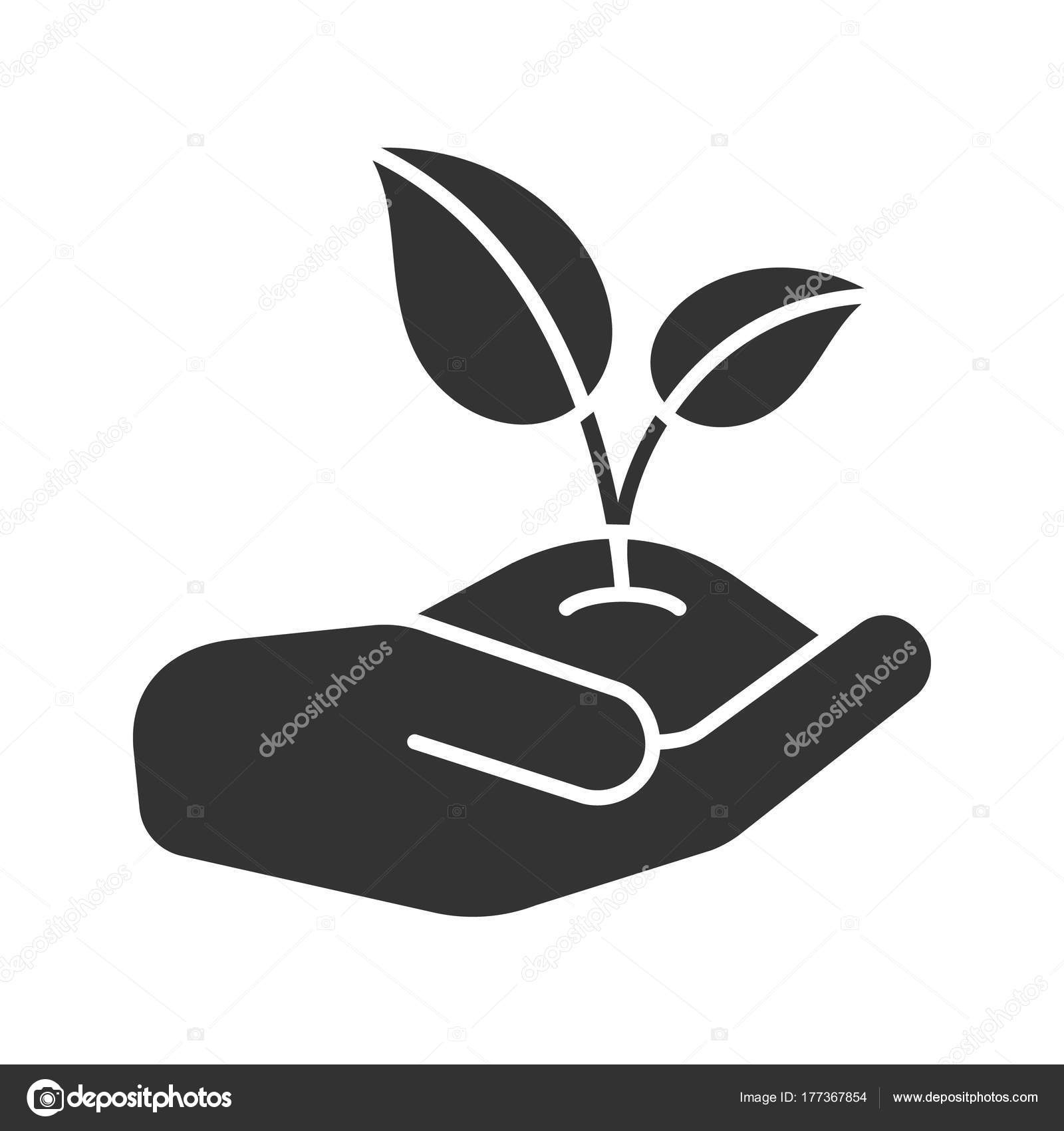 Open Hand Sprout Glyph Icon Environment Protection Agriculture