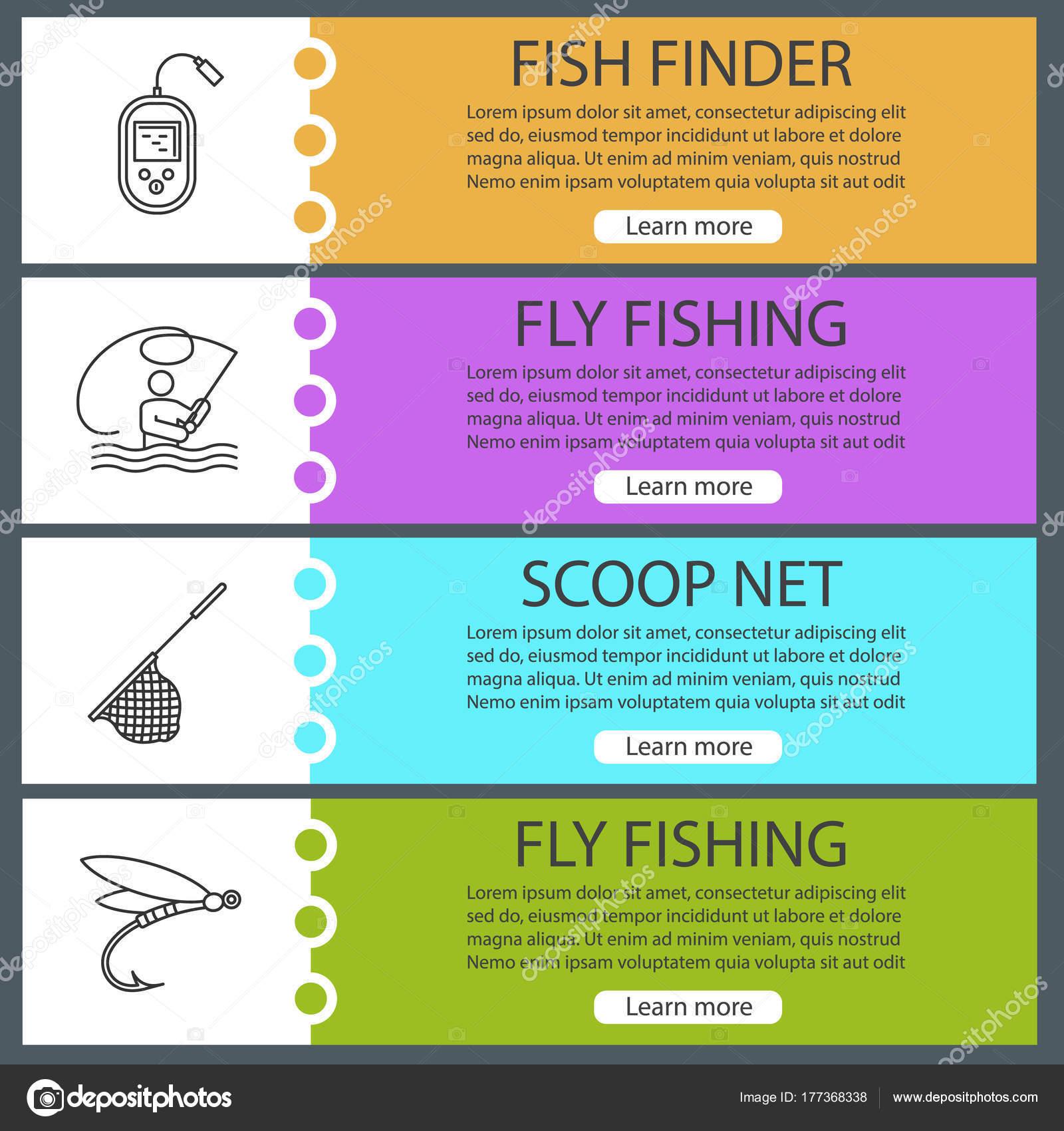 fishing web banner templates set fly fishing echo sounder landing
