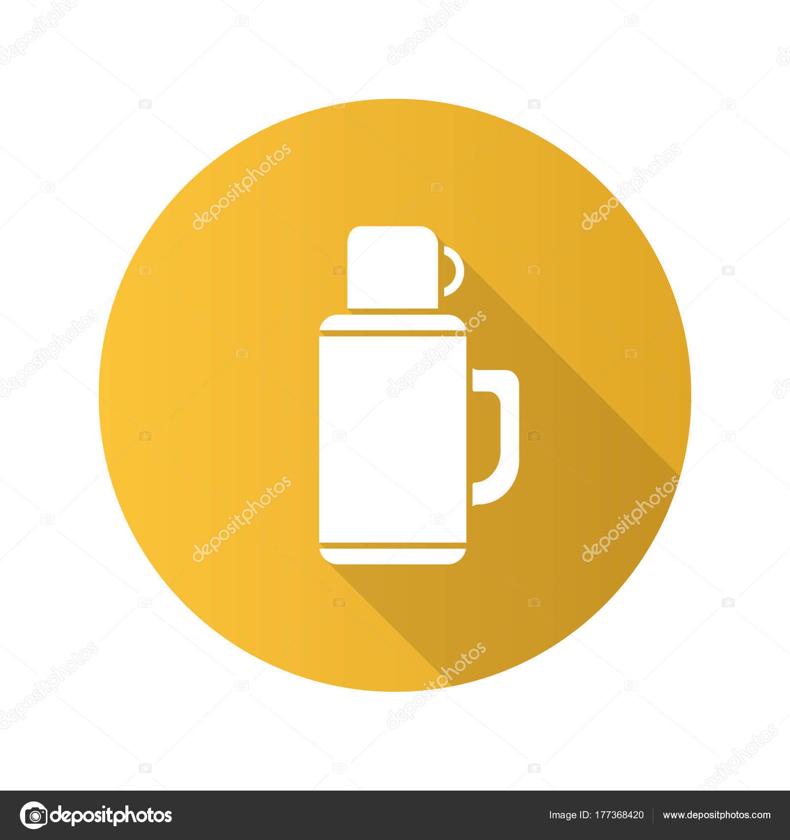 魔法瓶フラット デザイン長い影グリフ アイコン 温かい飲み物 ベクター