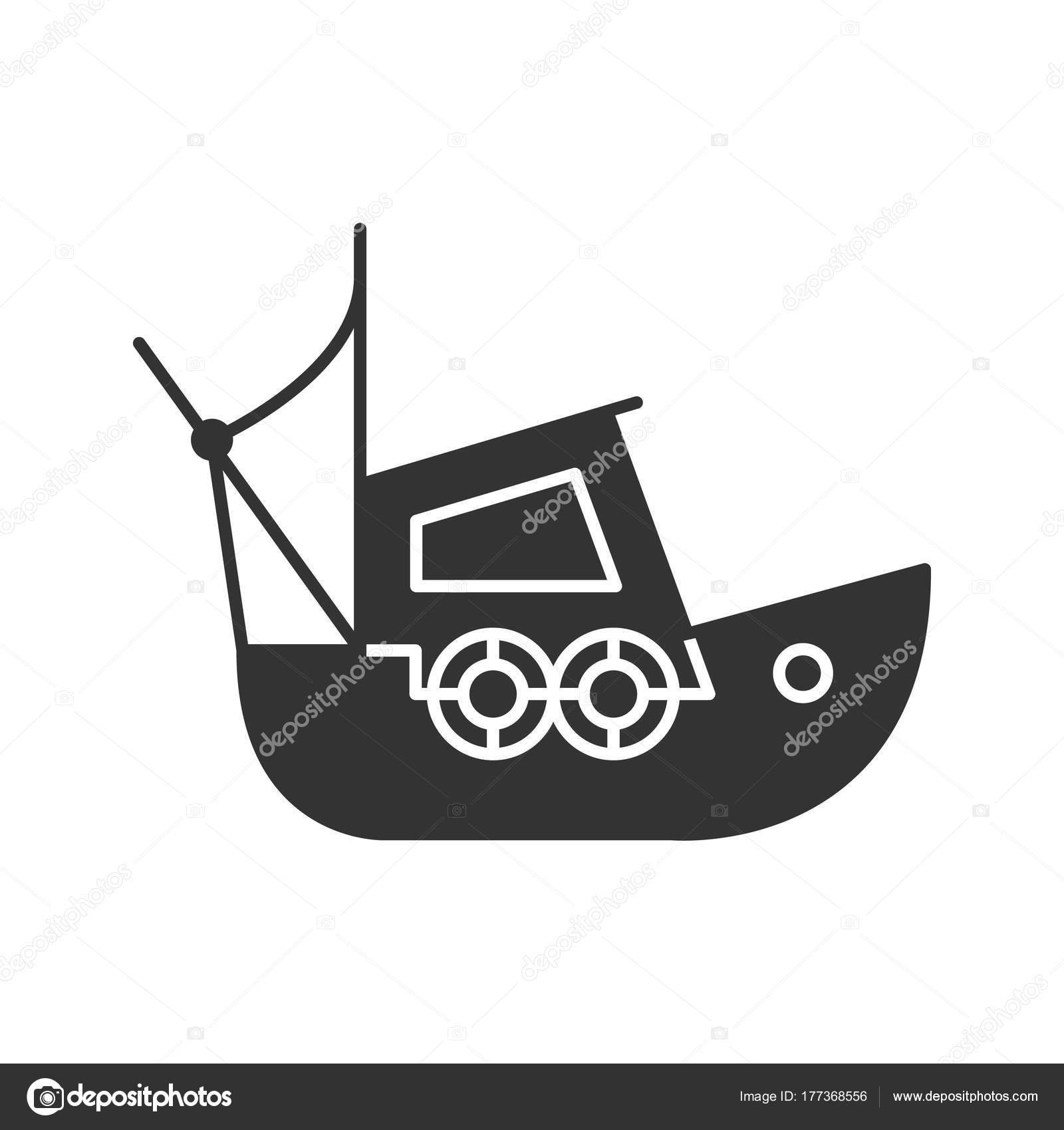 Fisher boat glyph icon coble yacht silhouette symbol negative fisher boat glyph icon coble yacht silhouette symbol negative space stock vector buycottarizona