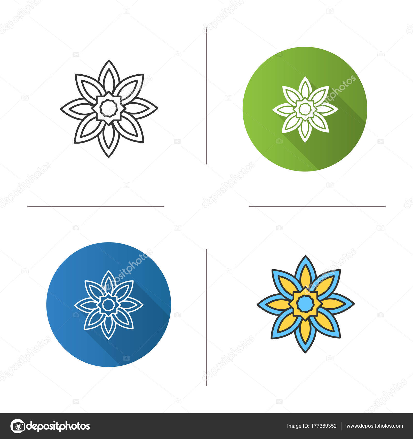 Islamic Star Icon Flat Design Linear Color Styles Religious