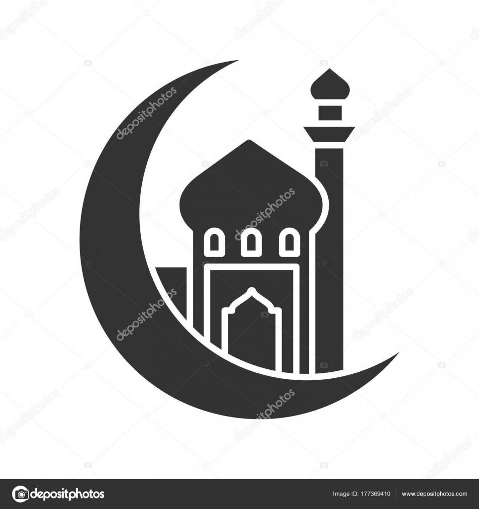 Mosque Ramadan Moon Glyph Icon Crescent Moon Islamic Culture Muslim