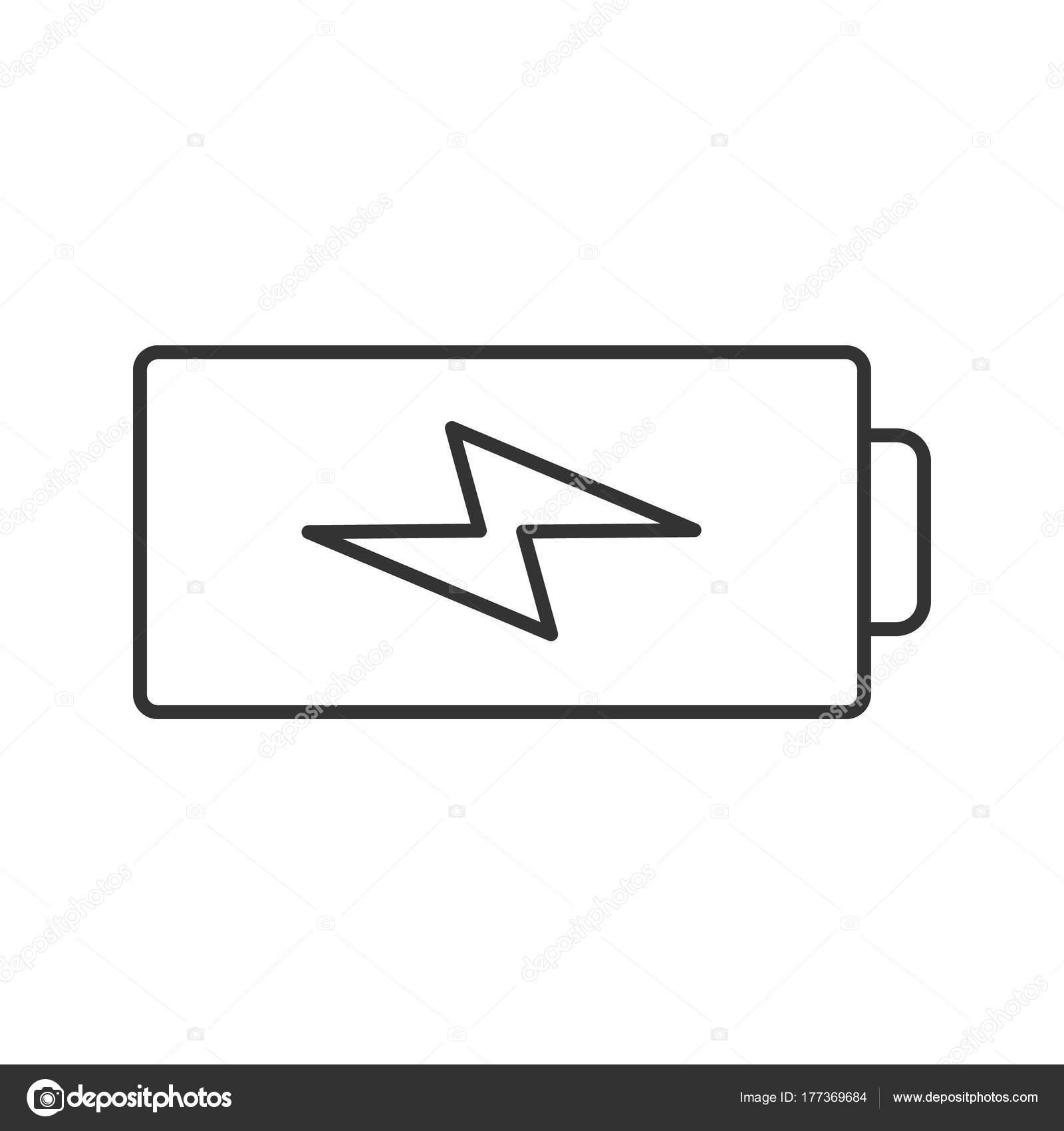 Akku Ladesymbol Linear Akkumulator Dünne Linie Abbildung Kontur ...