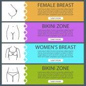 Části těla žen web banner šablony sady