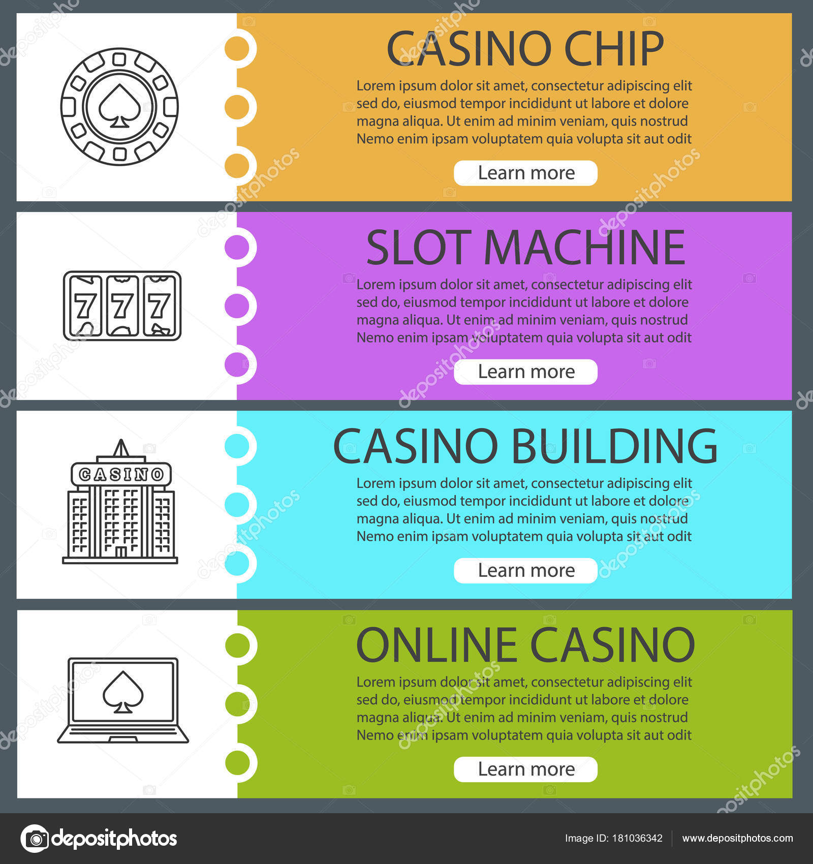 Casino Web Banner Templates Set Stock Vector Bsd 181036342