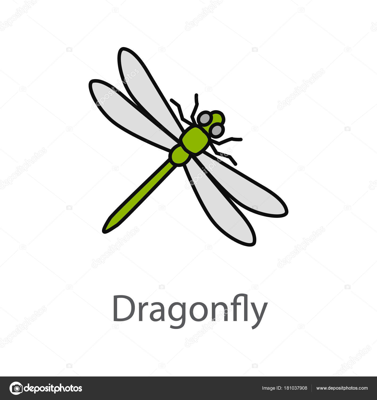 Dragonfly Color Icon Stock Vector C Bsd 181037908
