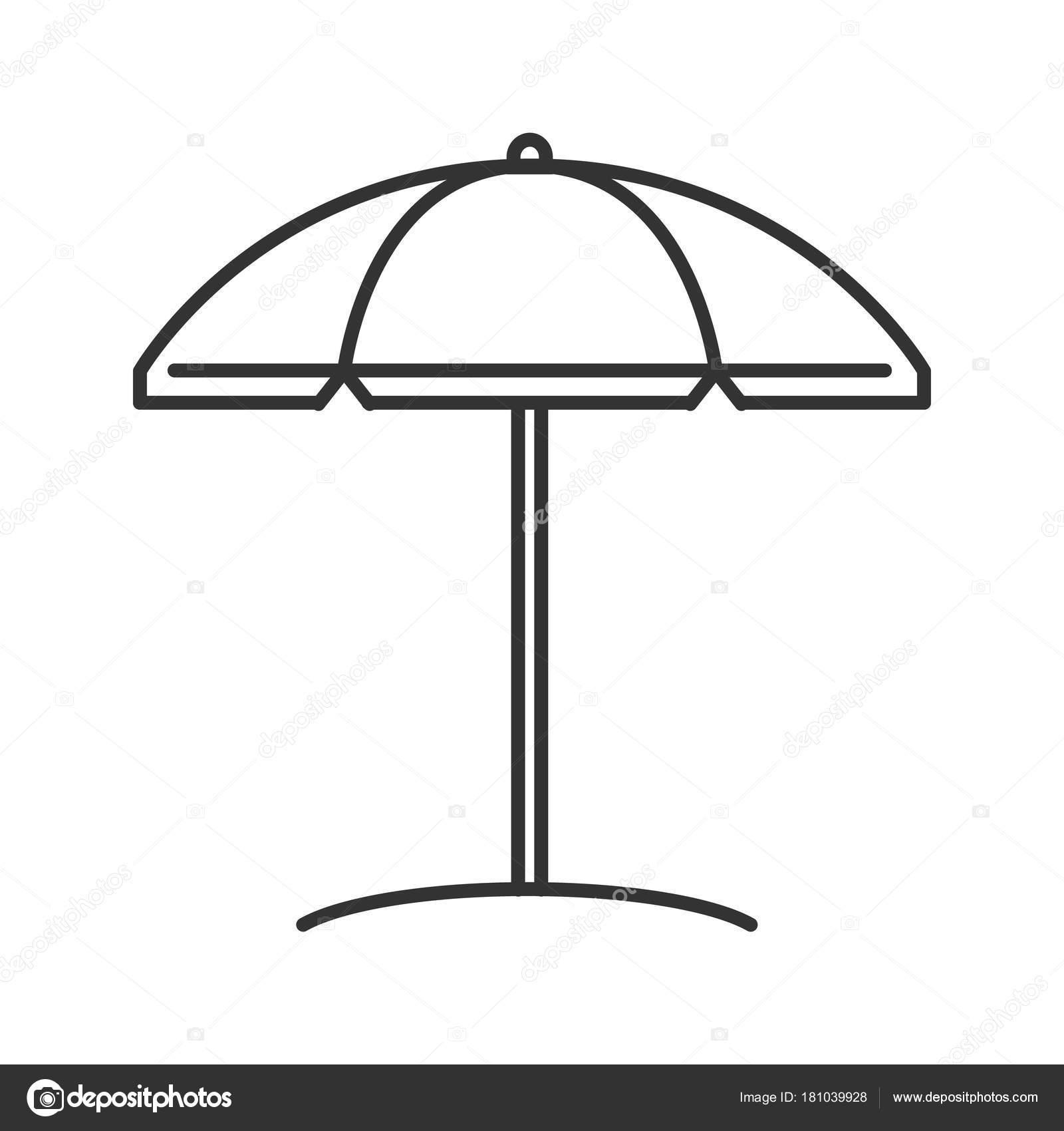 Line Art Umbrella : Icona lineare dell ombrello di spiaggia — vettoriali stock