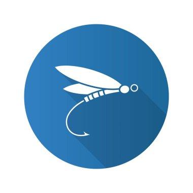 Fly fishing flat icon