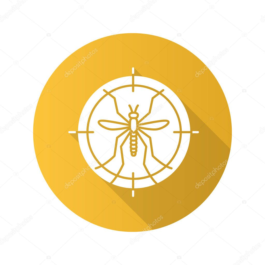 Mosquitoes in target flat design shadow glyph icon, vector silhouette illustration on yellow background
