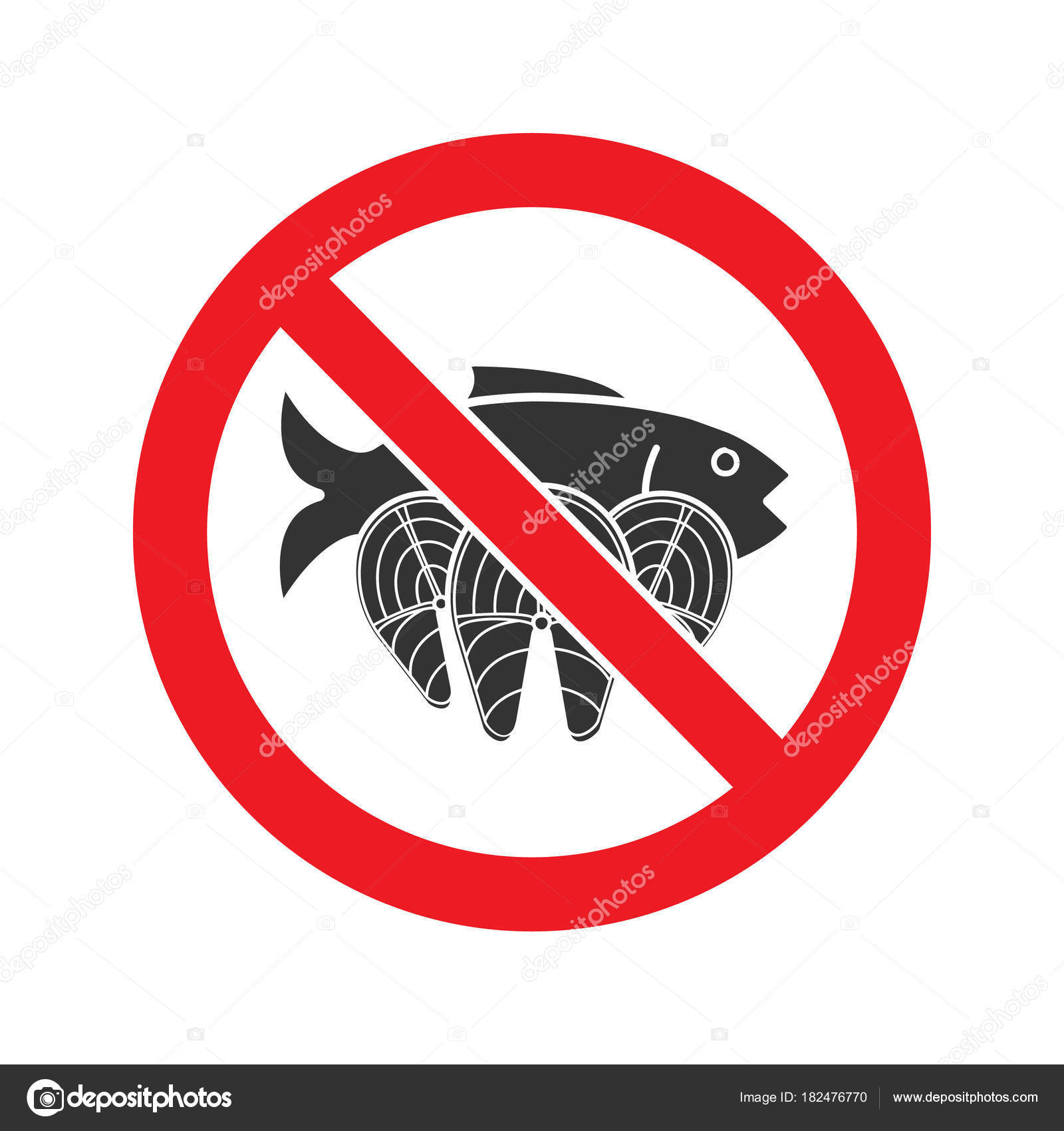 Forbidden Sign Salmon Fish Glyph Color Icon Isolated White ...