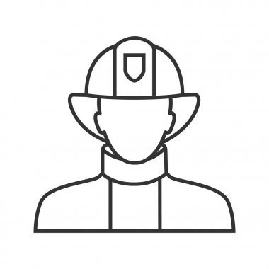 Firefighter linear icon, vector contour illustration on white background icon
