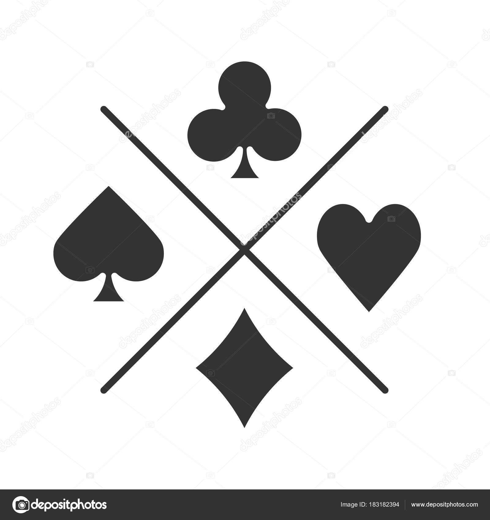 Suits Playing Cards Glyph Icon Casino Silhouette Symbol Spade Clubs