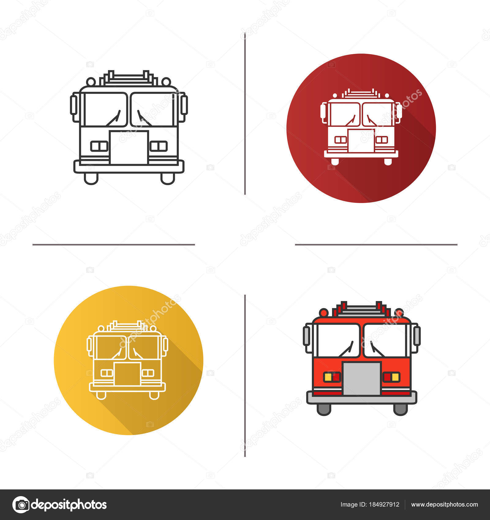 Icono Coche Bomberos Diseño Plano Lineal Estilos Color Camión ...
