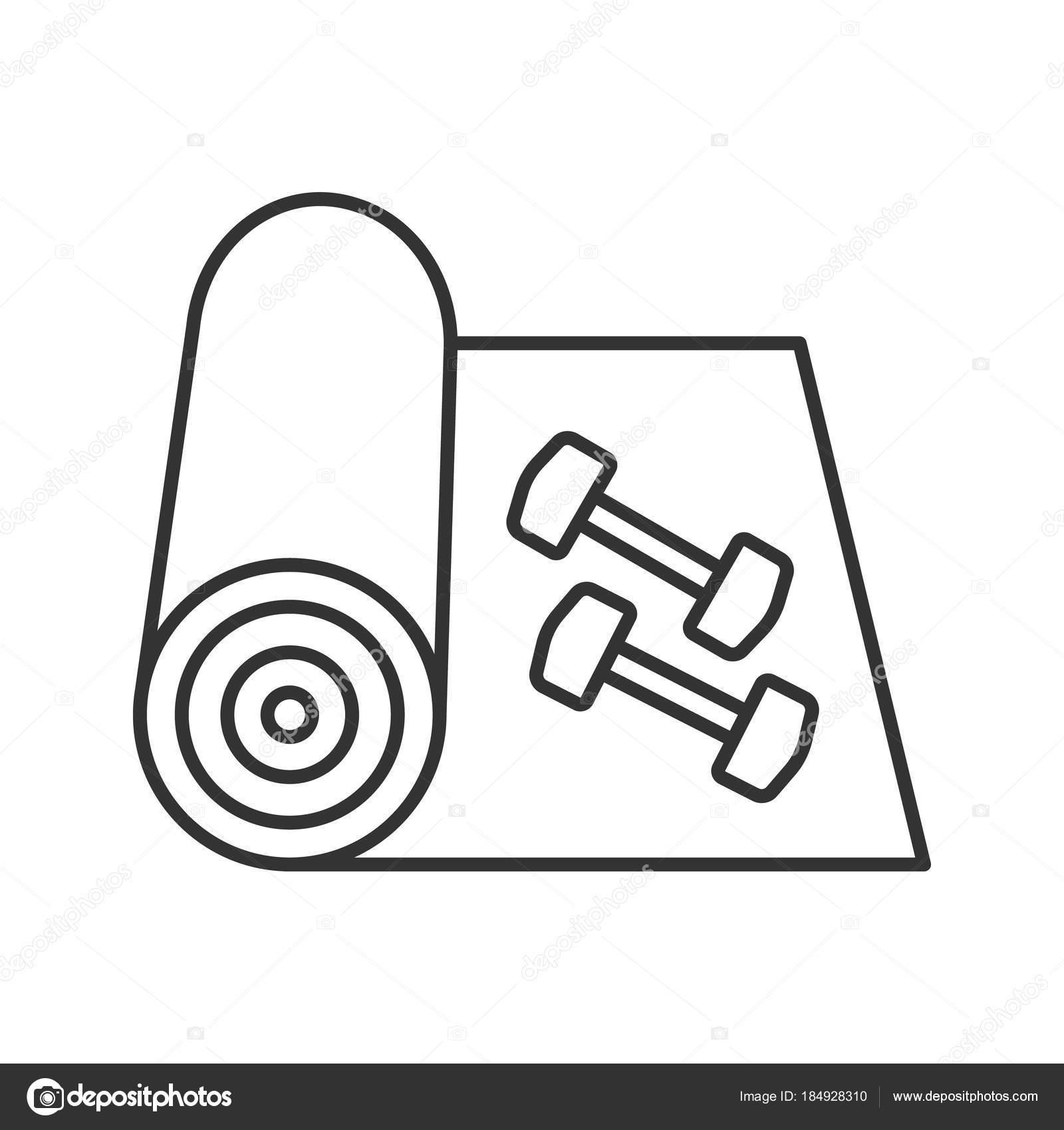 Training Mat Dumbbells Linear Icon Thin Line Illustration Yoga Carpet Stock Vector