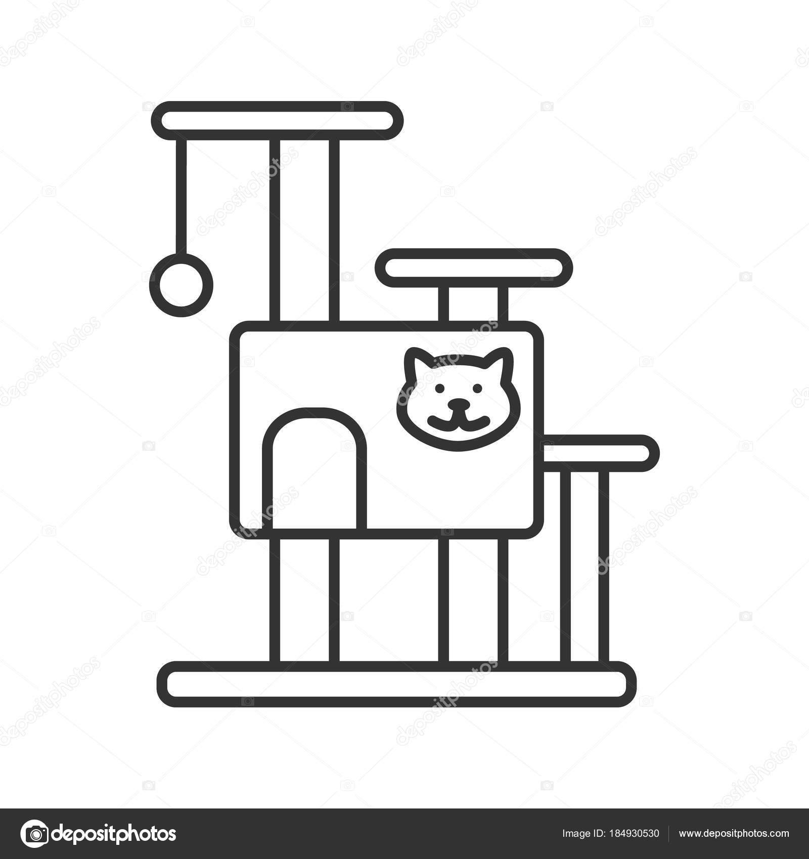 Icona Del Lineare Casa Sull Albero Gatto Mobili Animali Domestici