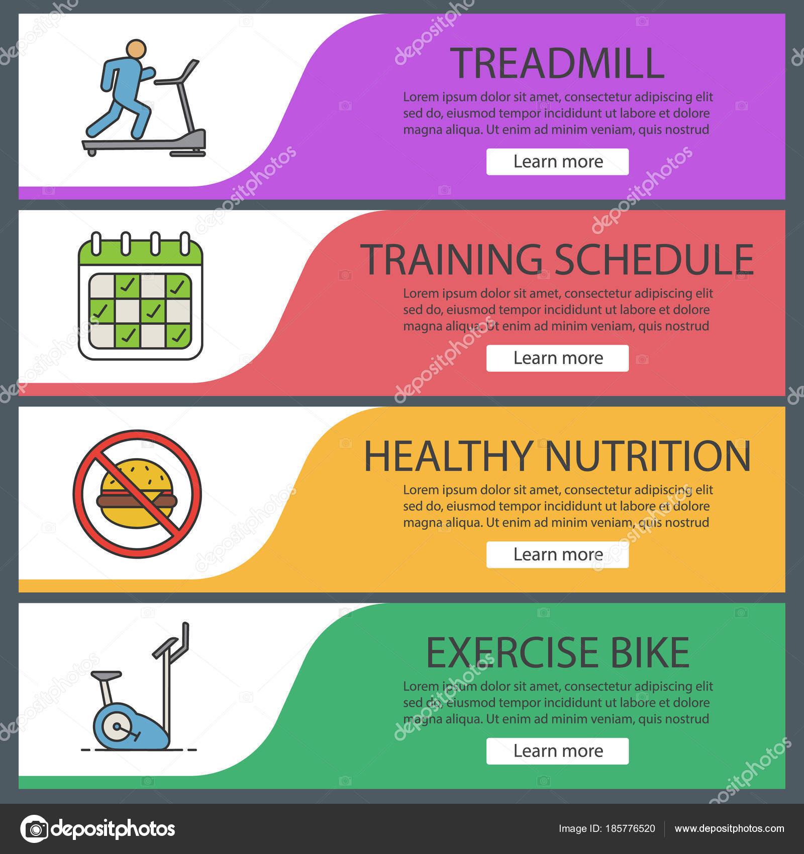 fitness web banner templates set sport equipment treadmill training
