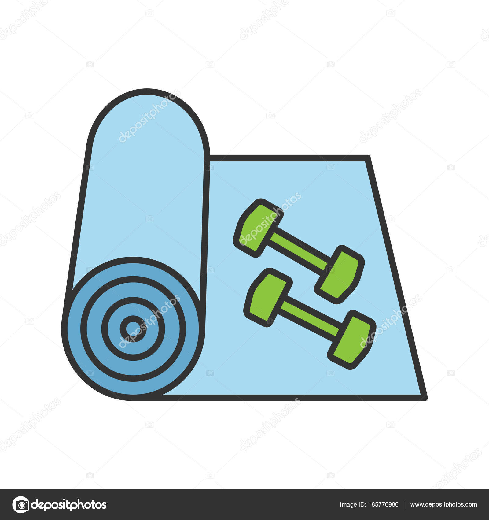 Training Mat Dumbbells Color Icon Yoga Carpet Fitness Equipment Isolated Stock Vector