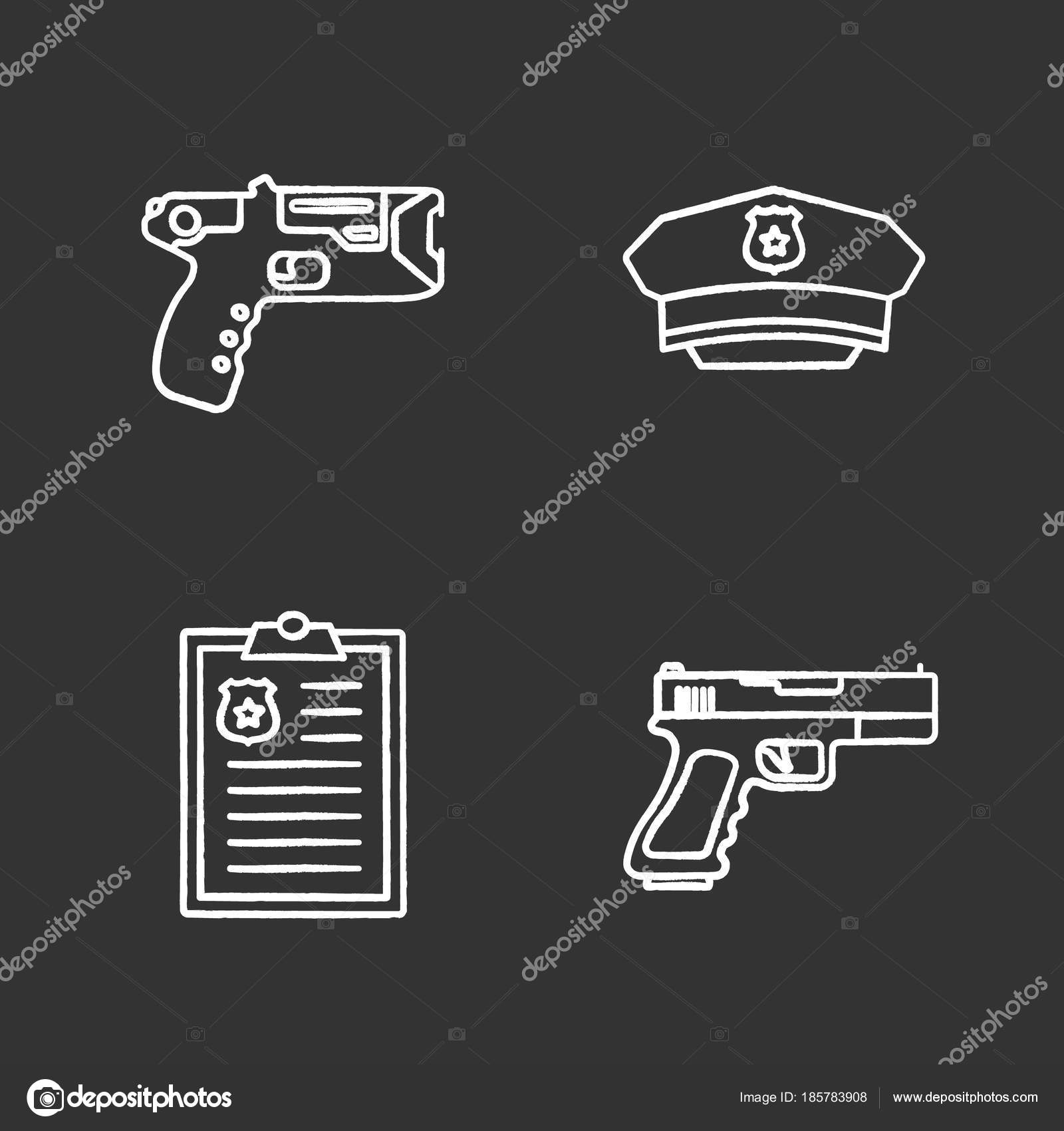 101b1cf12f0 Police Chalk Icons Set Taser Hat Police Report Gun Isolated — Stock ...
