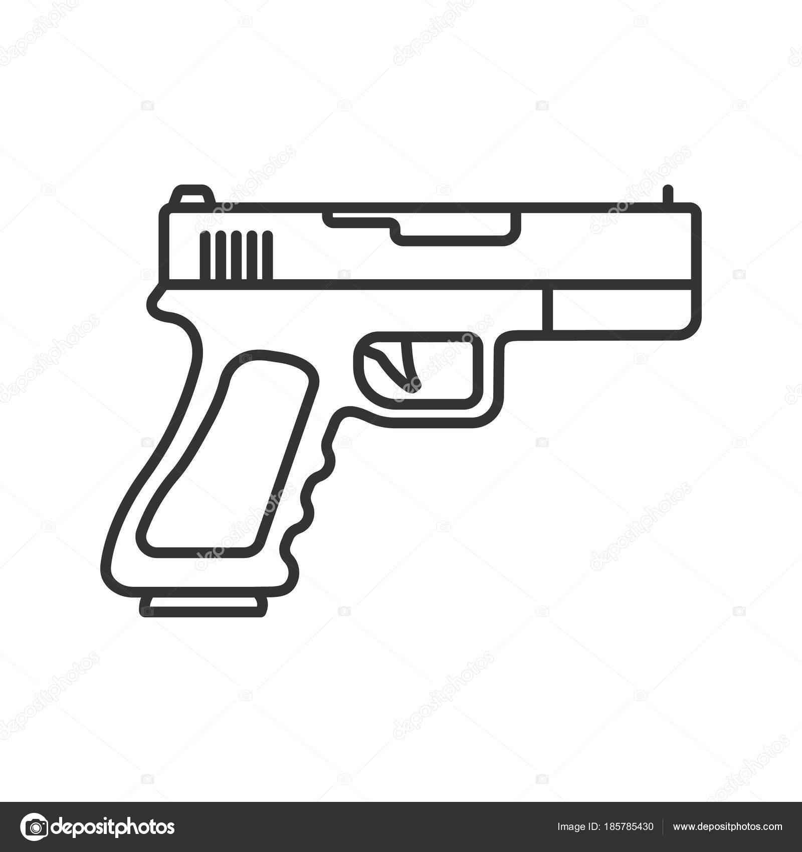 Gun Pistol Linear Icon Thin Line Illustration Firearm Contour