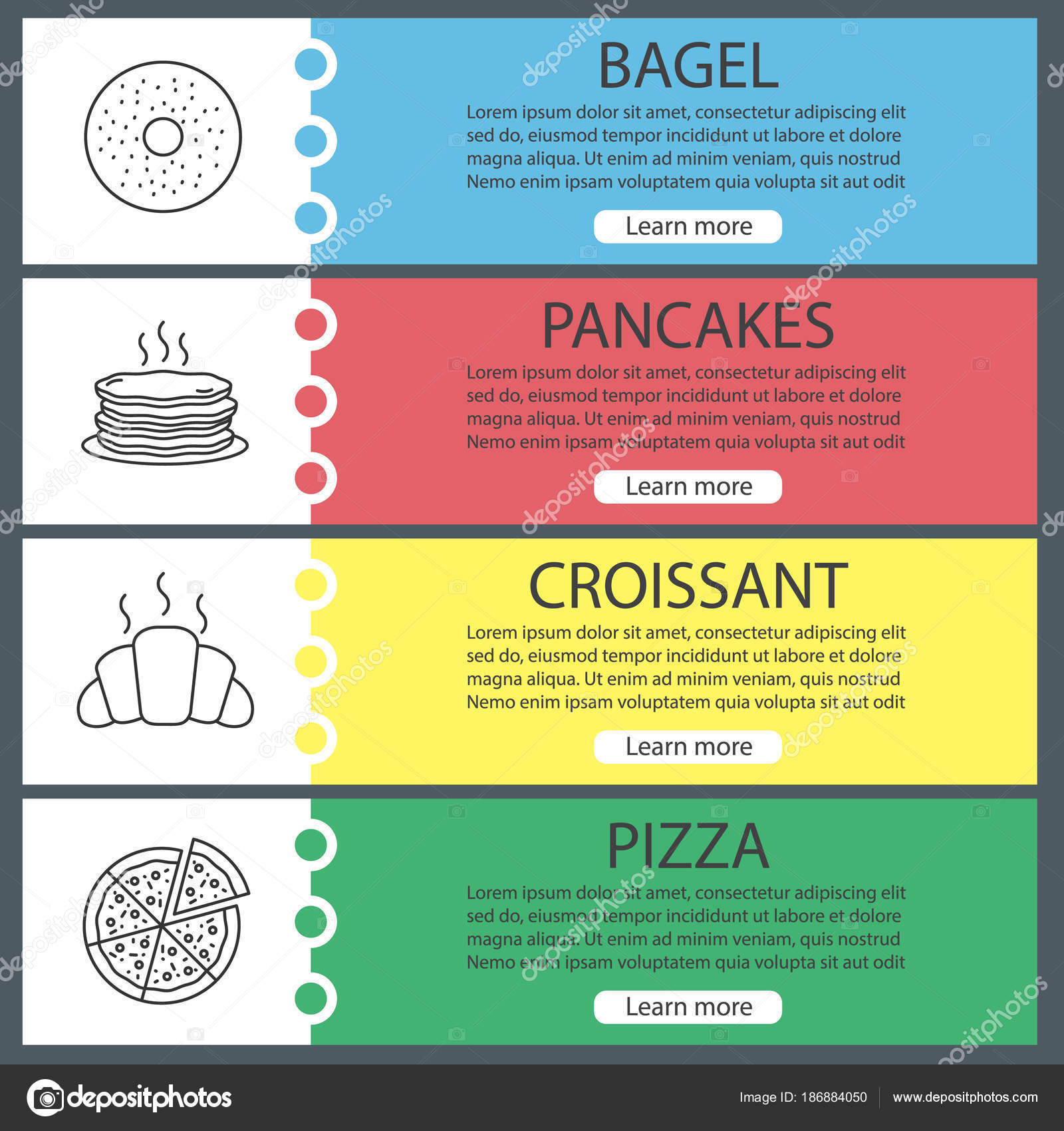 Panadería Web Banner Plantillas Conjunto Bagel Crepes Croissant ...