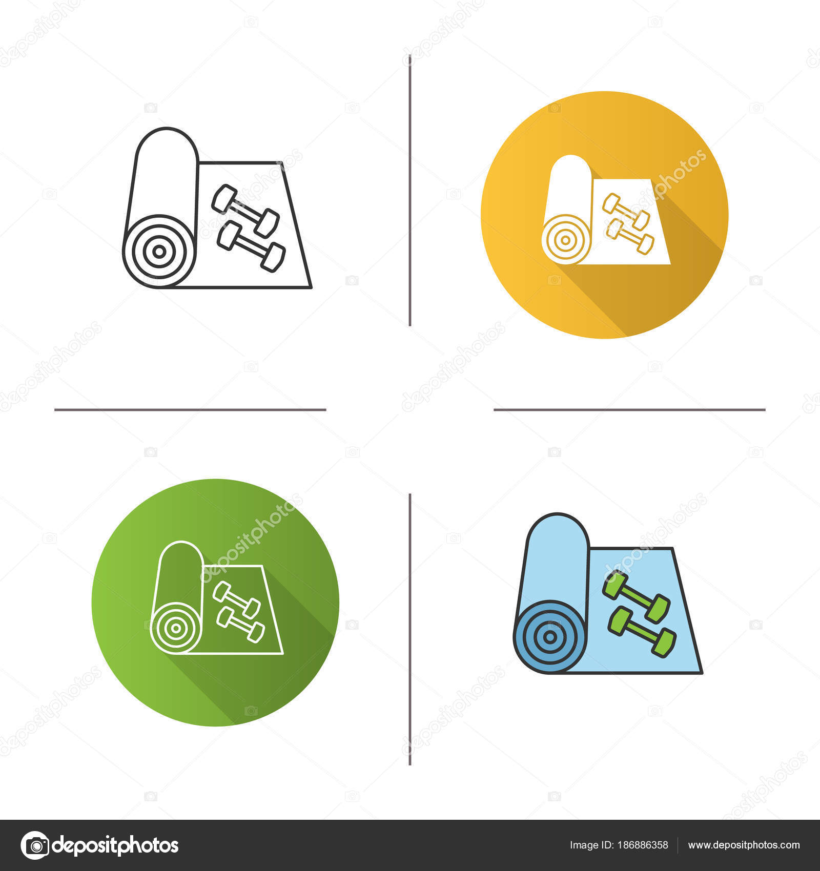 Training Mat Dumbbells Icon Flat Design Linear Color Styles Yoga Stock Vector