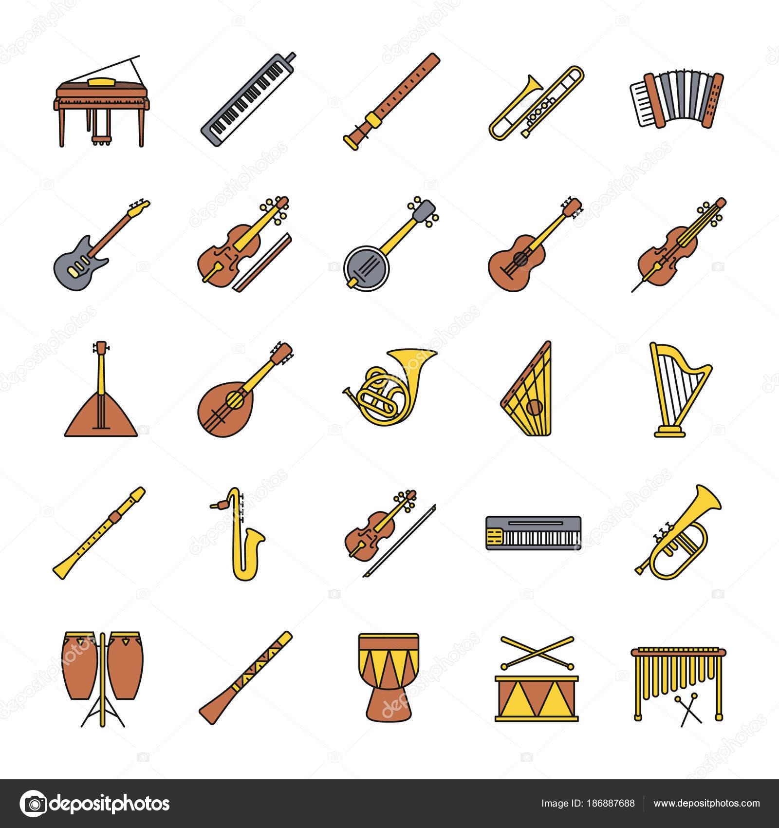 Dibujos Instrumentos De Viento A Colores Instrumentos Musicales