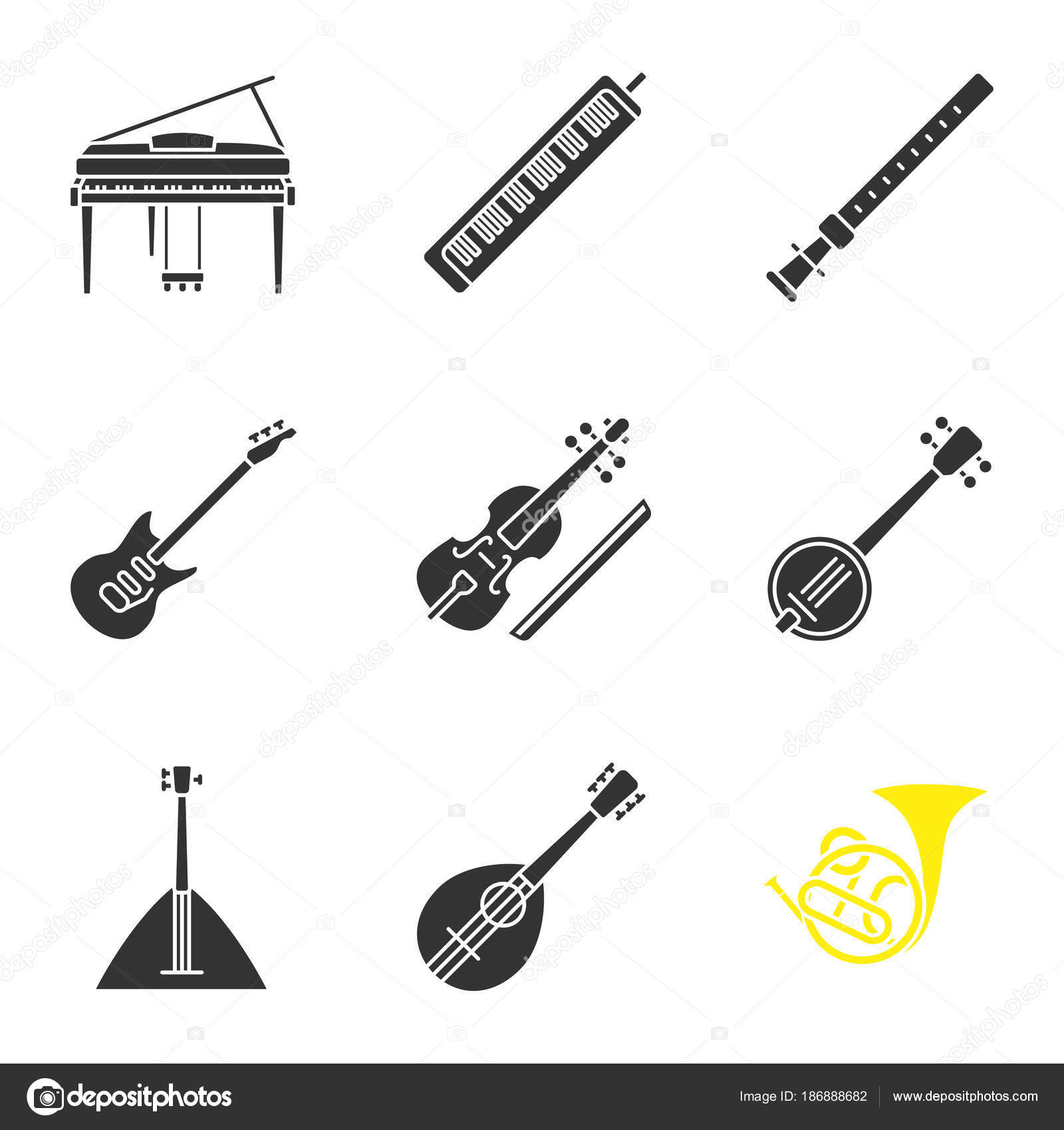 Musical Instruments Glyph Icons Set Piano Melodica Duduk Electric Guitar Diagram Parts Of The Stock Vector