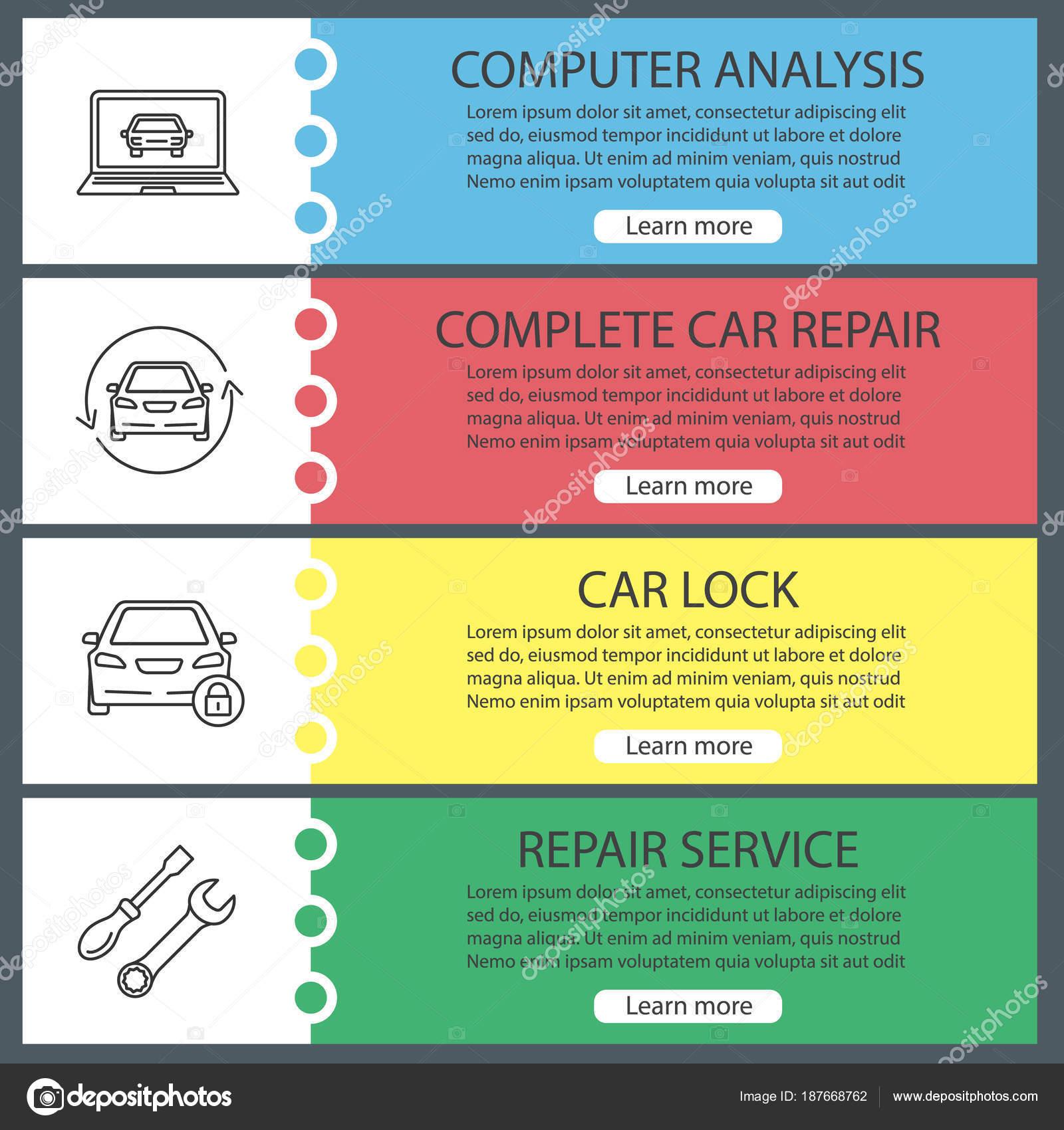 eaef3d642152 Установите Авто Мастерская веб-баннер шаблоны. Компьютерный анализ, ремонт  автомобилей, замок, гаечный ключ и отвертку. Пункты меню цвета веб-сайта с  ...