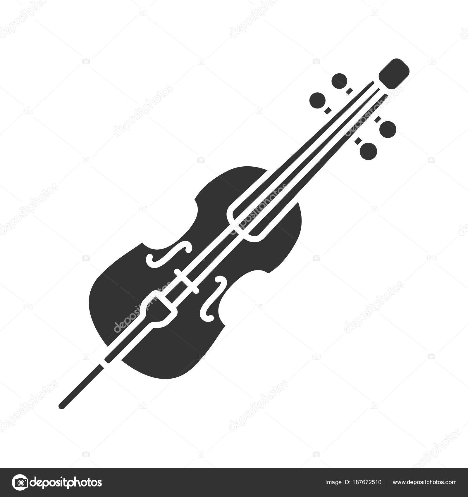 Cello Glyph Icon Violoncello Silhouette Symbol Negative Space Vector Isolated Stock