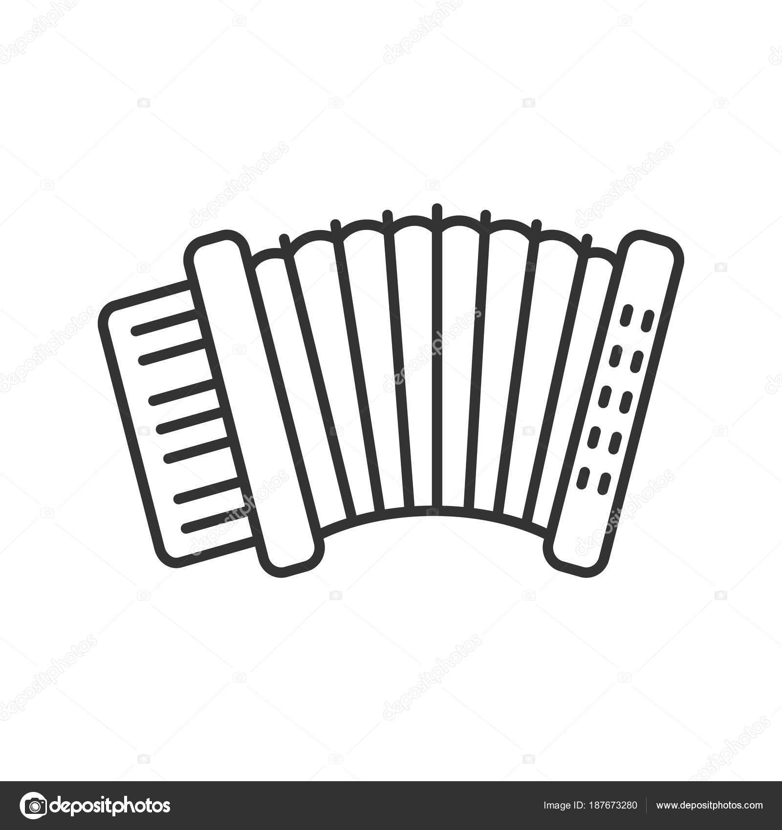 Accordéon Icône Linéaire Illustration Ligne Mince Symbole