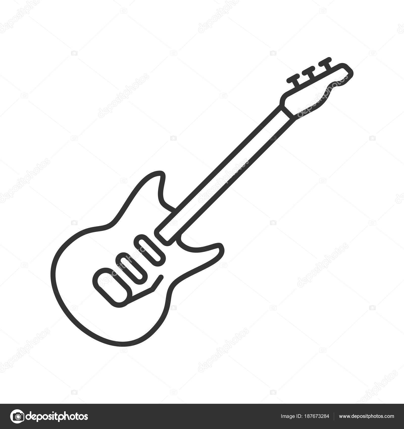 Electric Guitar Linear Icon Thin Line Illustration Contour Symbol