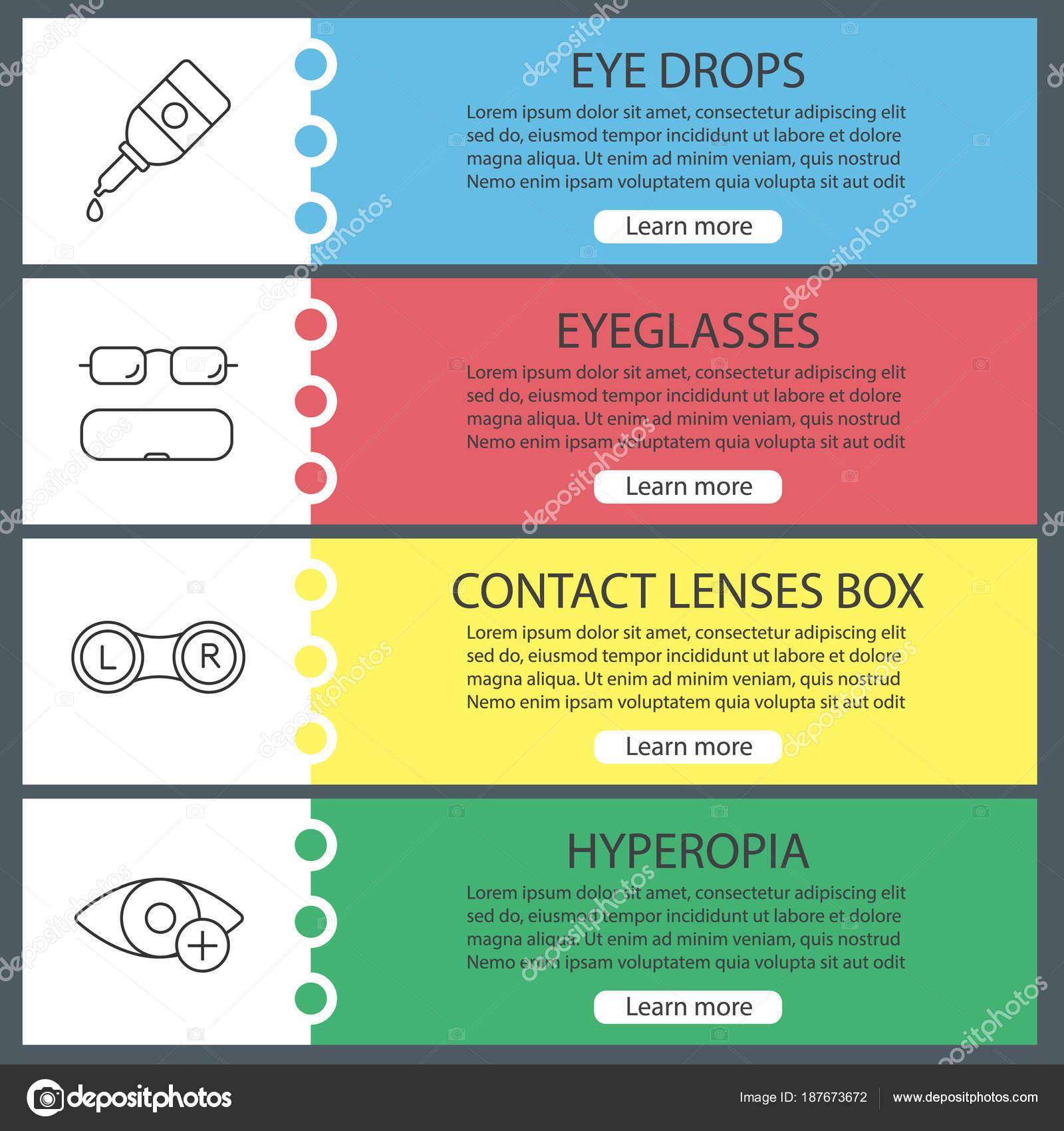 e7d462c27 Definir Modelos Banner Oftalmologia Web Colírio Caso Óculos Lentes Contato  — Vetores de Stock