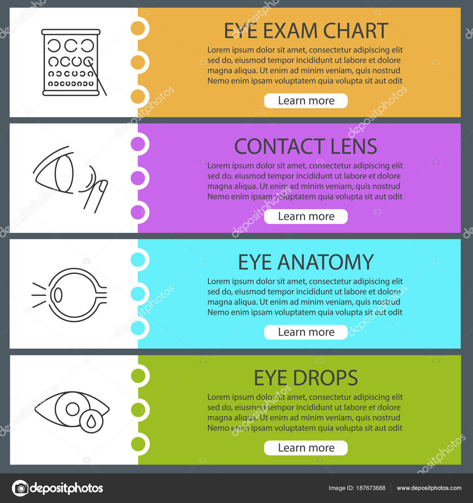 Ophthalmology Web Banner Templates Set Website Color Menu Items
