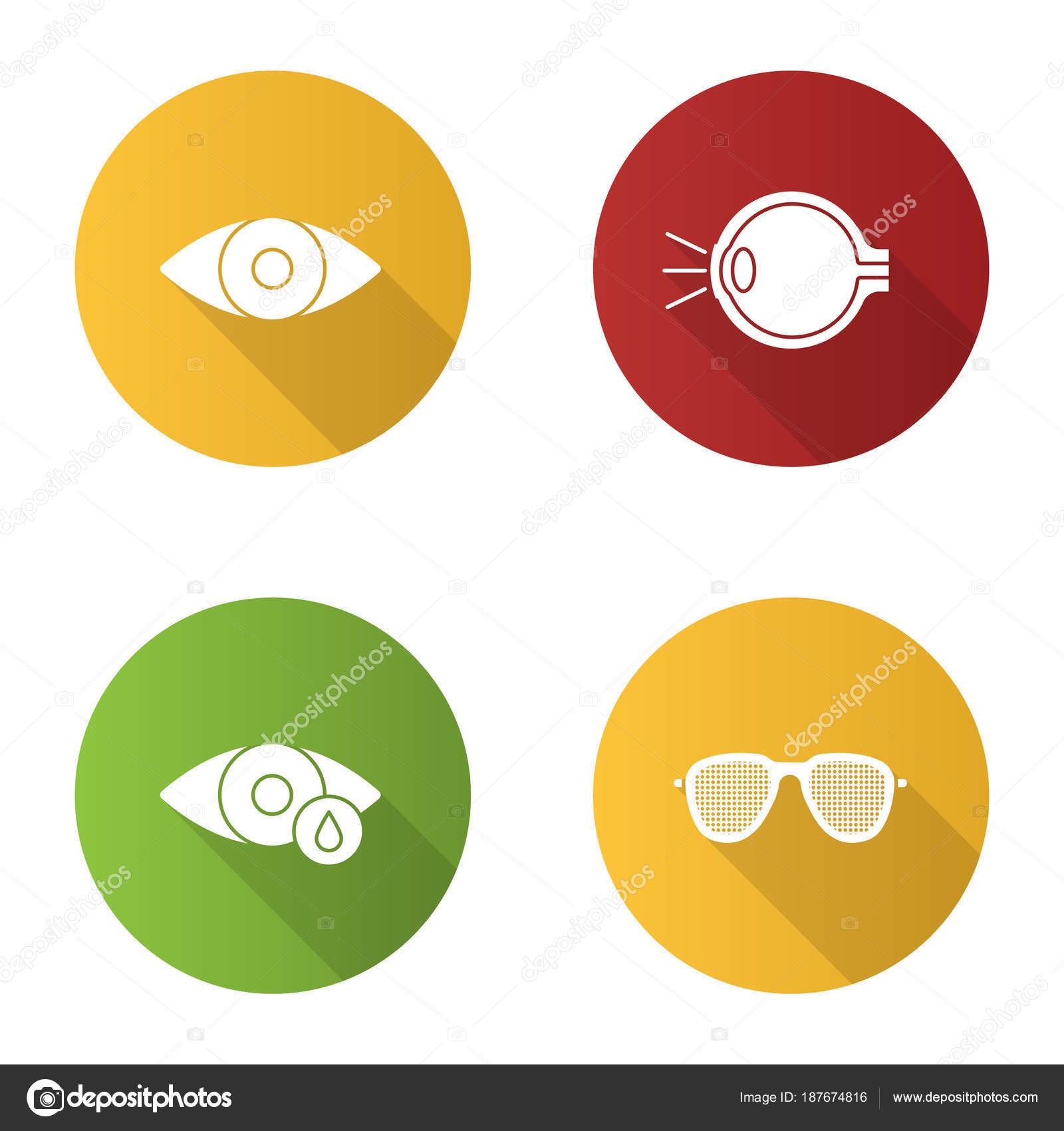 Augenheilkunde Flache Bauweise Lange Schatten Glyphe Symbole ...