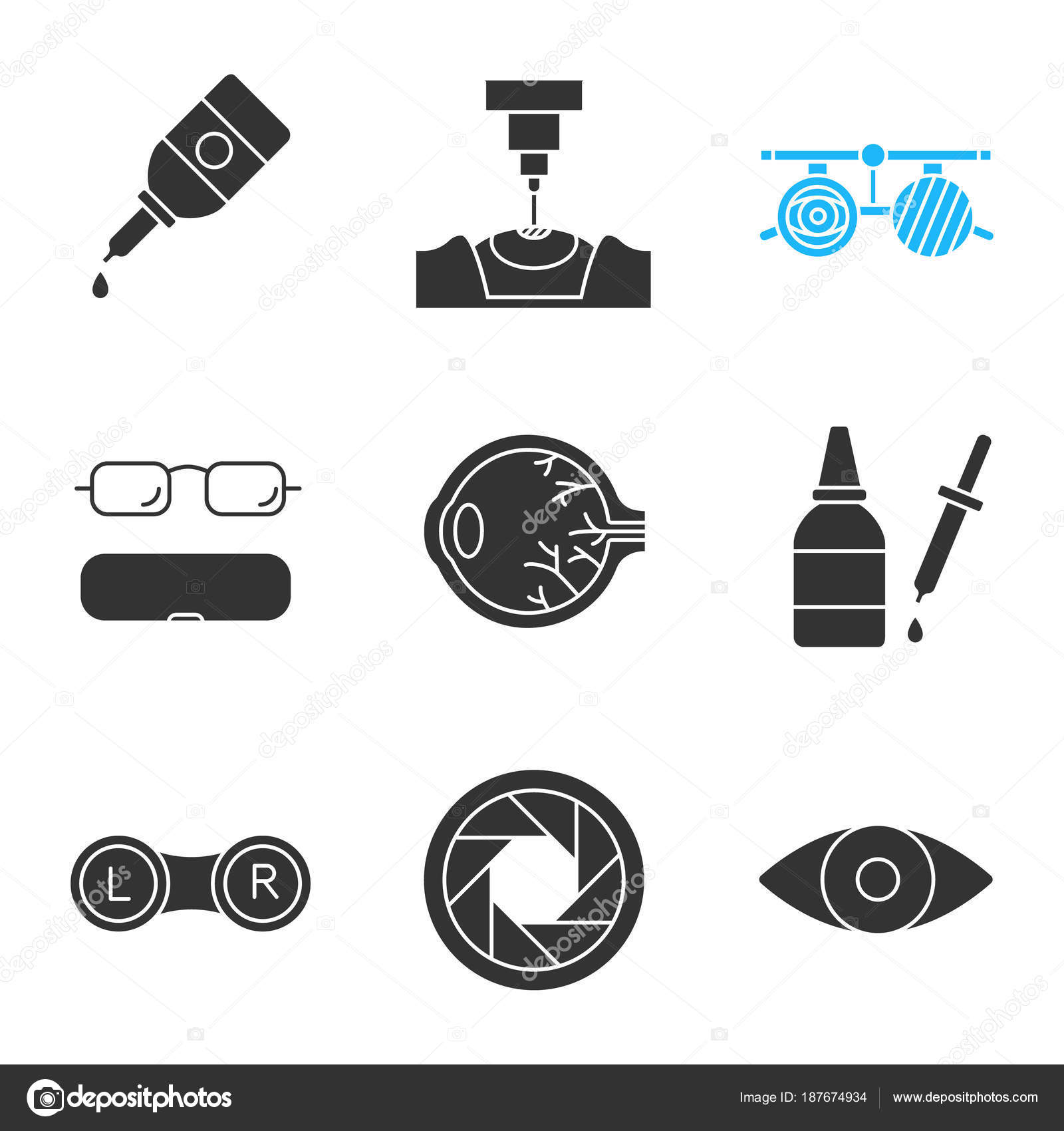 59484d58250 Ophtalmology Glyph Icons Set Eye Drops Dropper Laser Surgery Exam ...