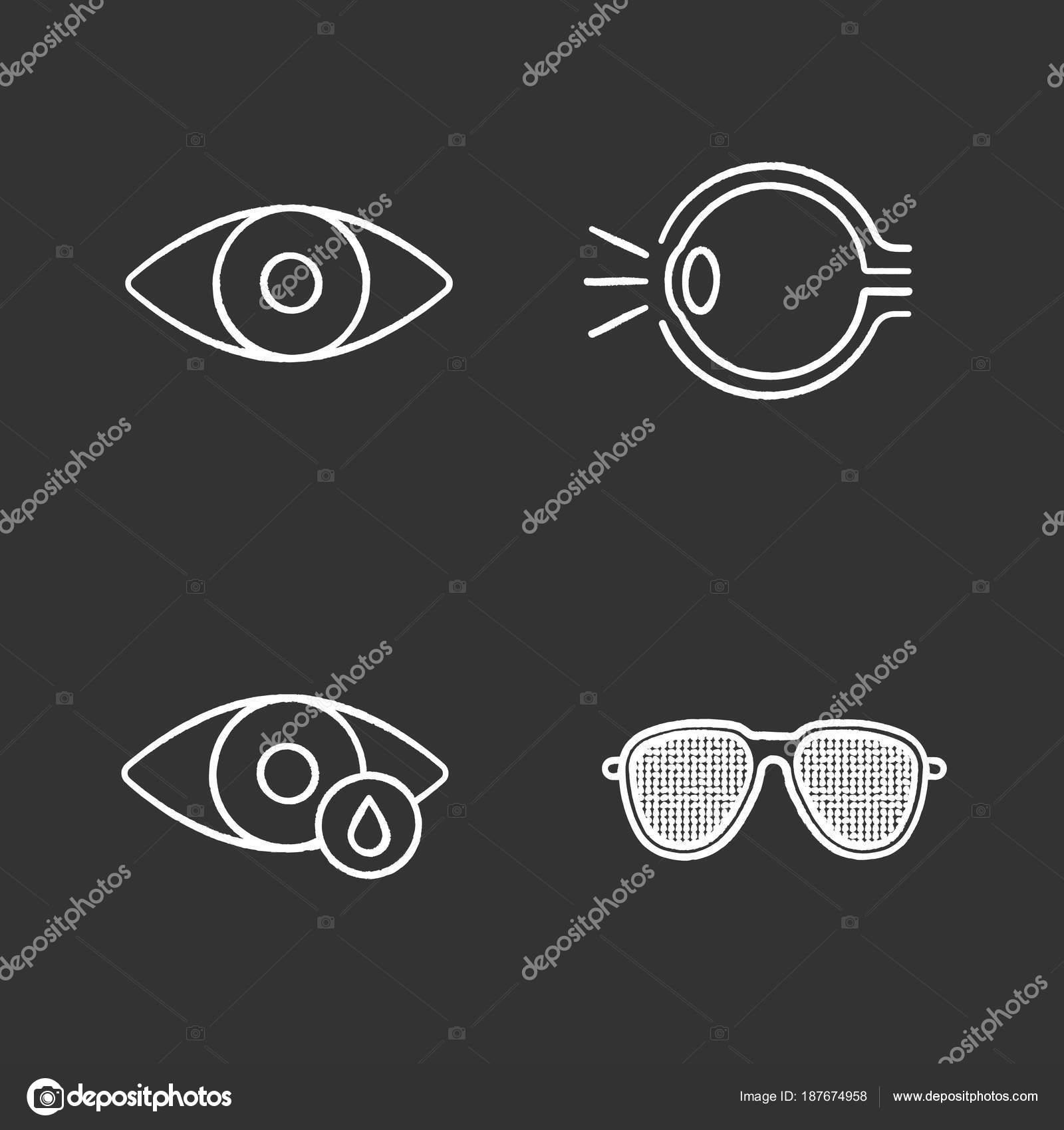 Augenheilkunde Kreide Icons Set Anatomie Des Menschlichen Auges ...